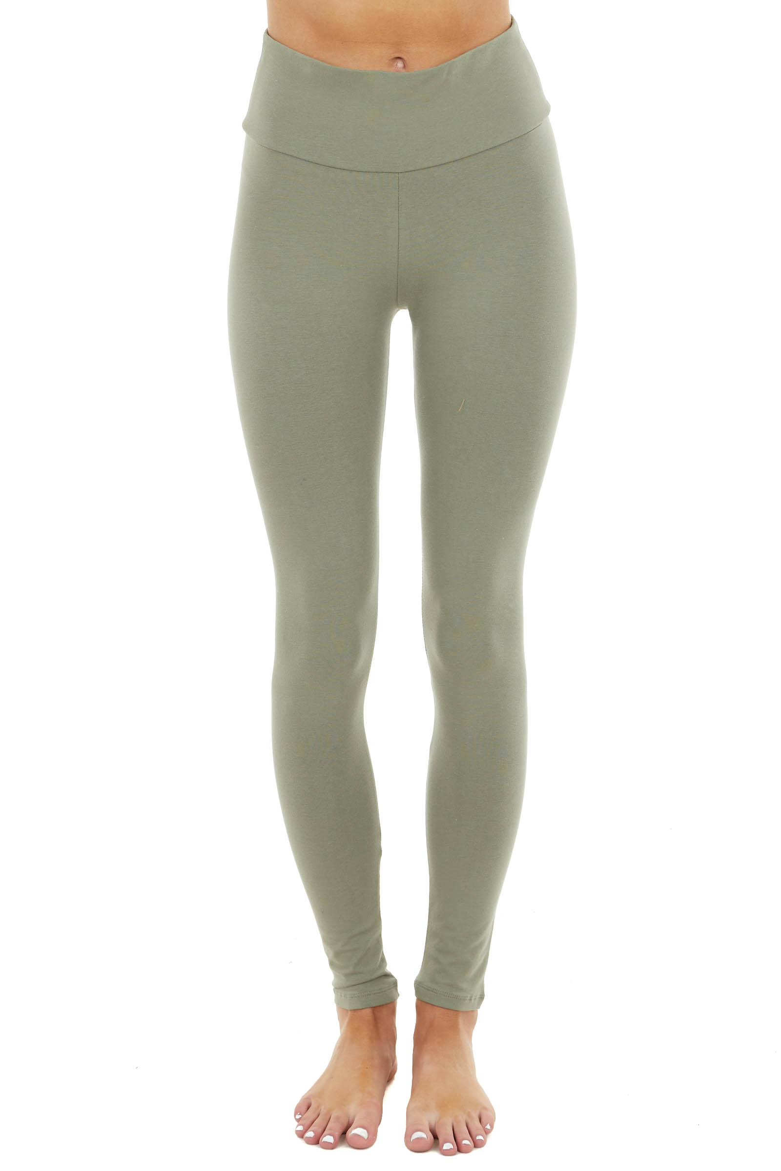 Sage Comfy Stretchy Knit Leggings with Banded High Waist