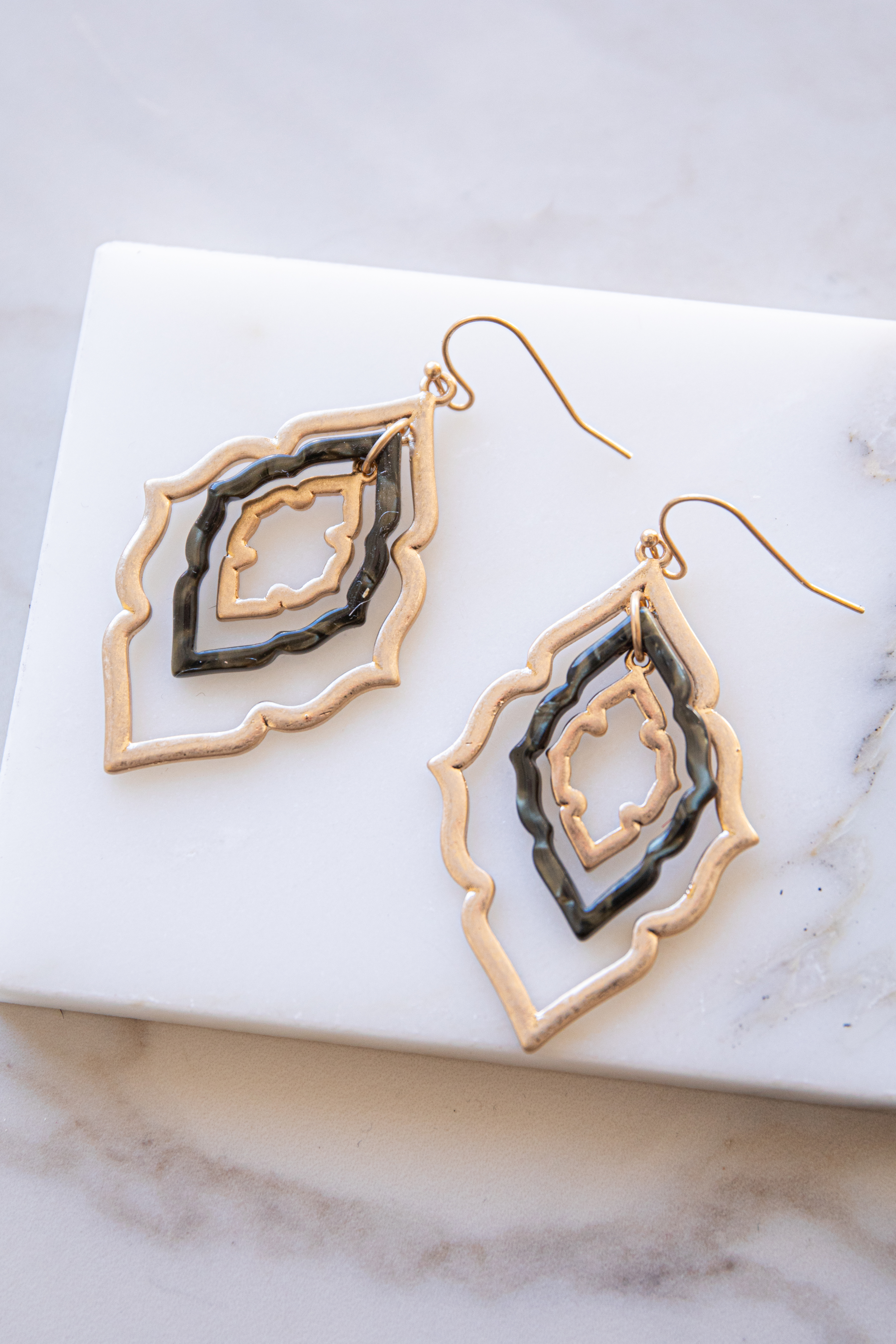 Brushed Gold and Black Three Pendant Dangle Earrings