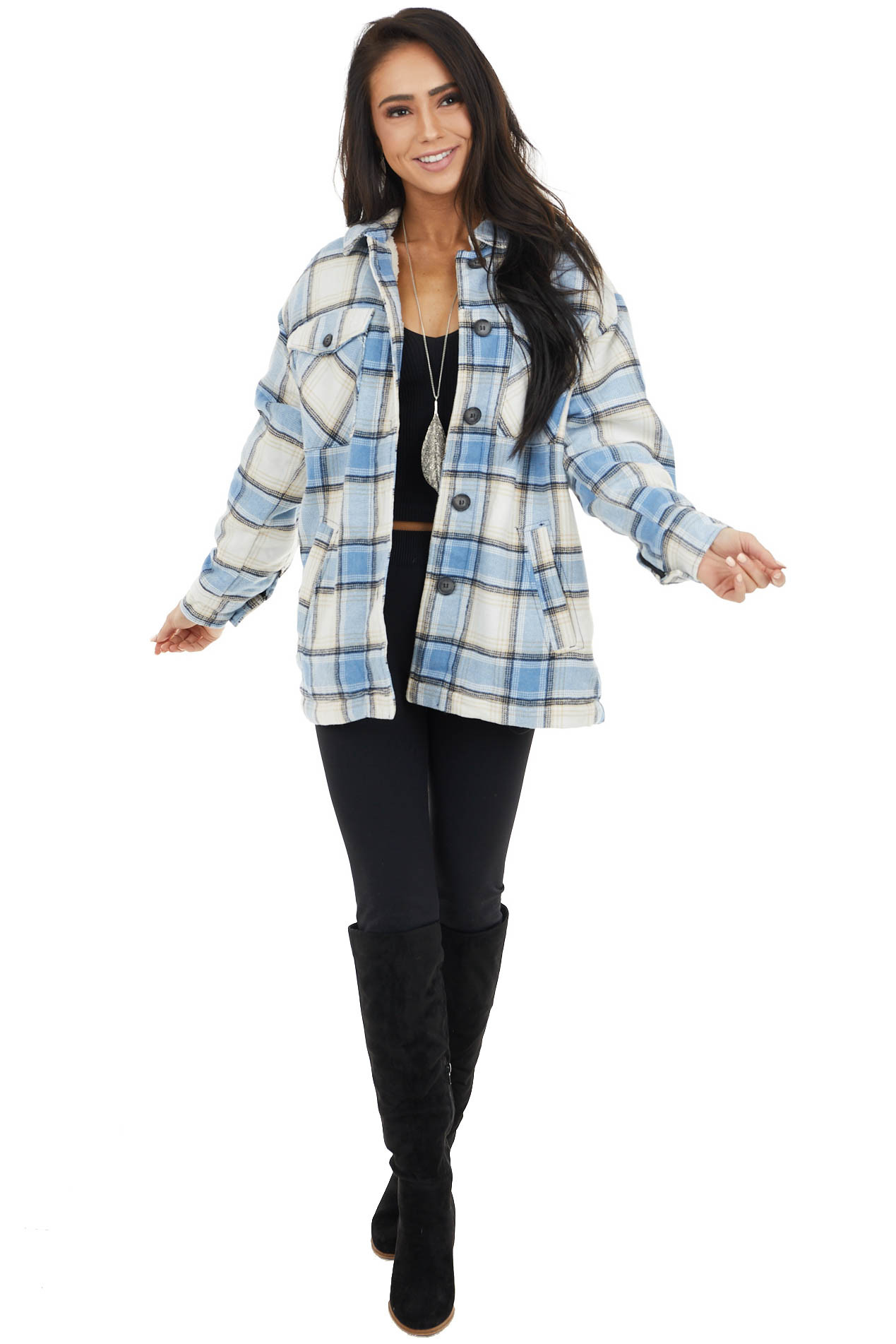 Powder Blue Plaid Sherpa Lined Jacket with Button Detail