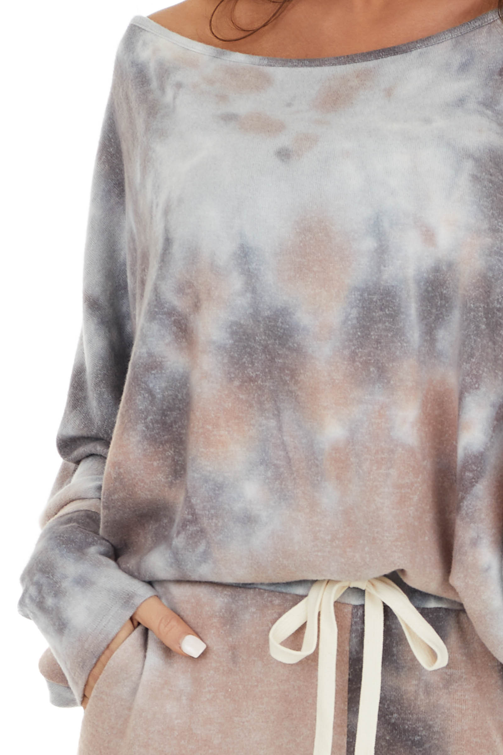 Dusty Rose and Charcoal Tie Dye Dolman Sleeve Boat Neck Top