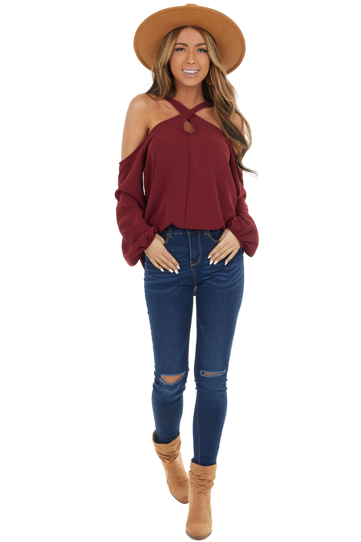 Wine Woven Cold Shoulder Long Sleeve Top with Crossed Neck