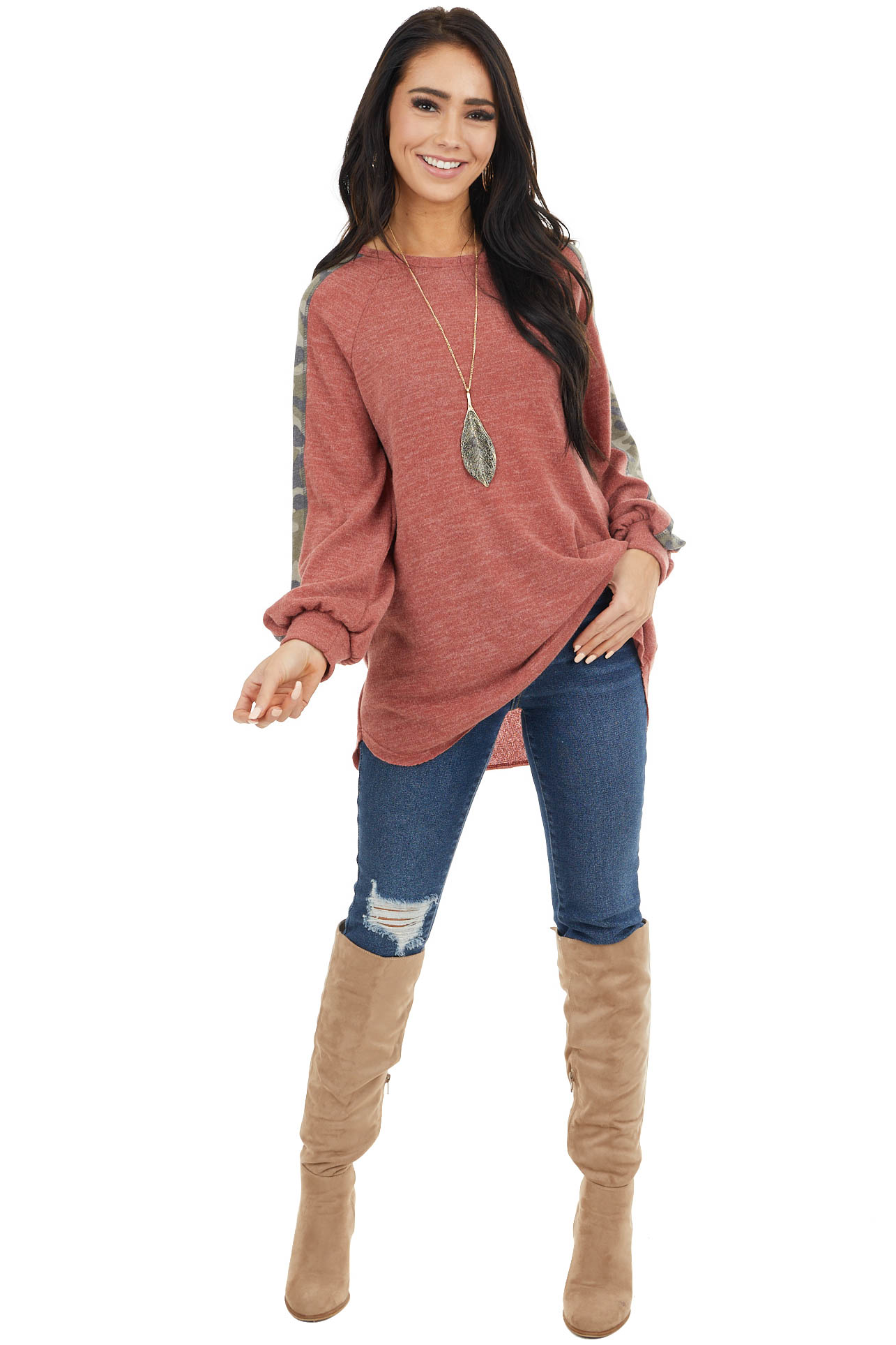 Ginger Two Tone Knit Top with Camo Print Contrasts