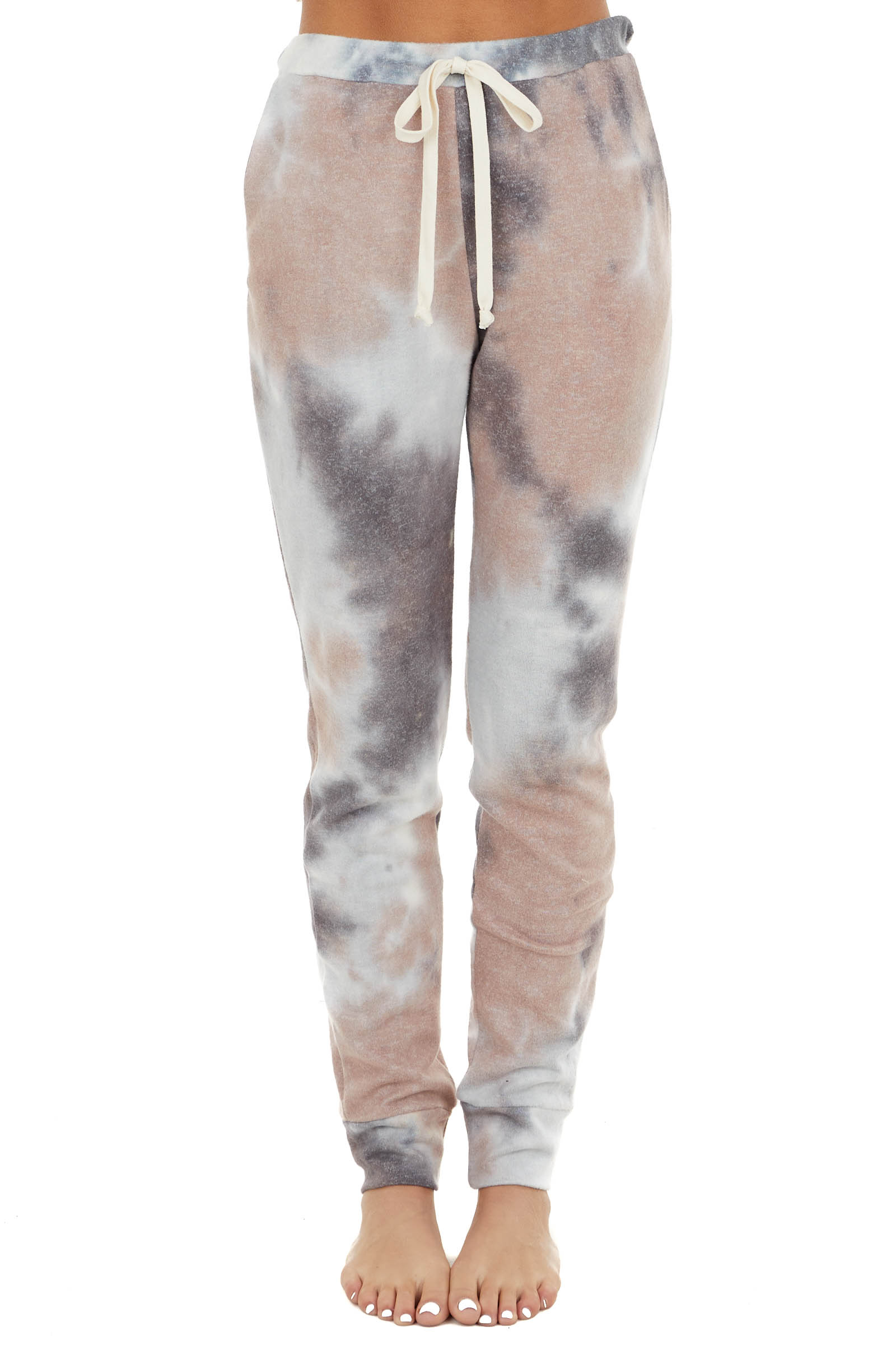 Dusty Rose and Charcoal Tie Dye Joggers with Pockets