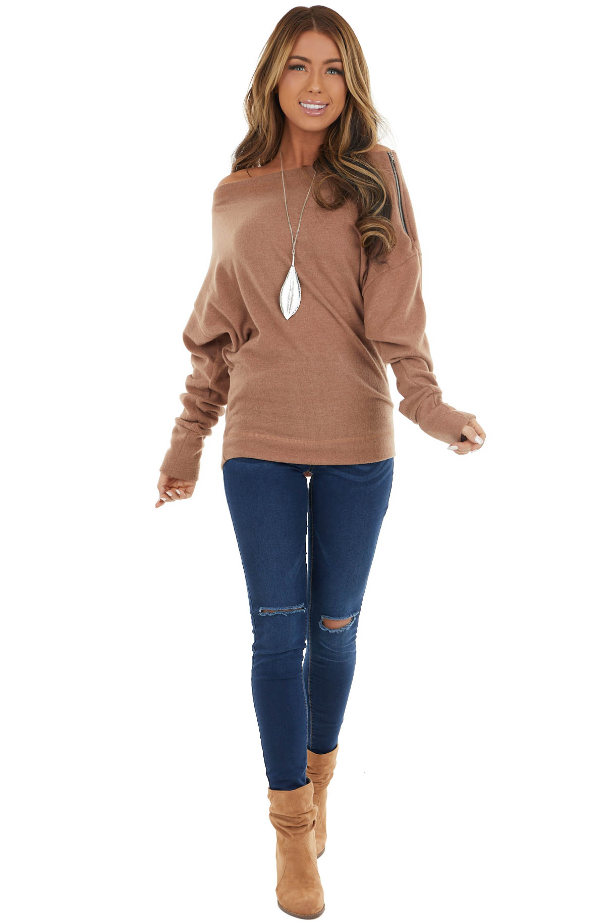 Camel Long Dolman Sleeve Boat Neck Top with Zipper Detail