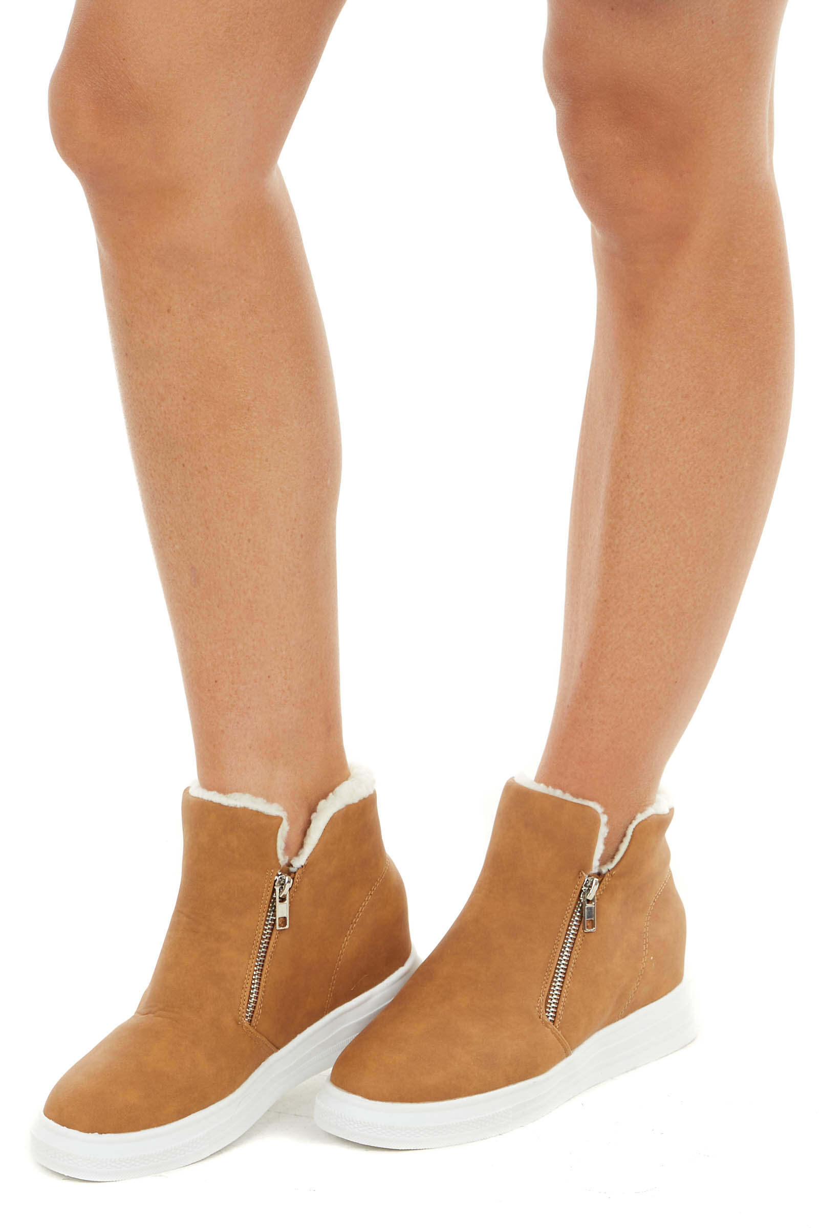Camel Faux Leather Wedge Sneakers with Faux Wool Trim