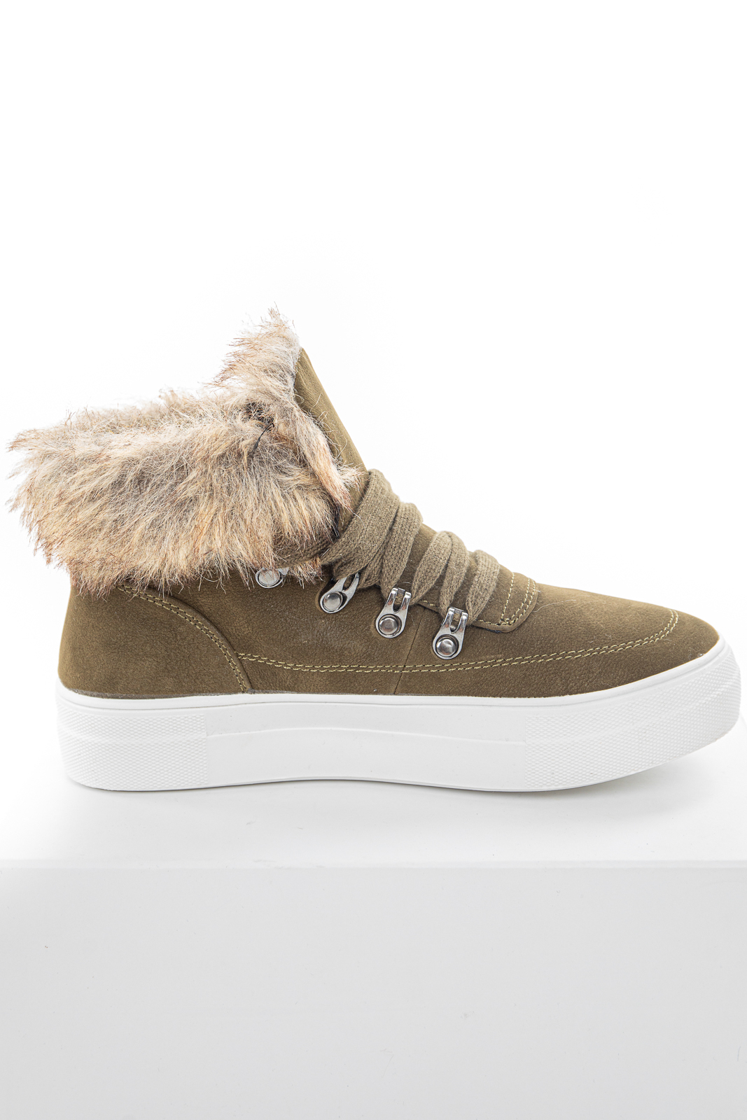 Olive Green Lace Up Sneakers with Faux