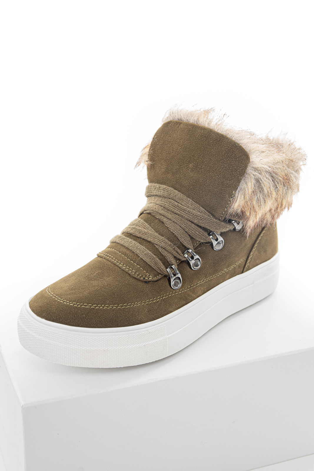 Olive Green Lace Up Sneakers with Faux Fur Trim