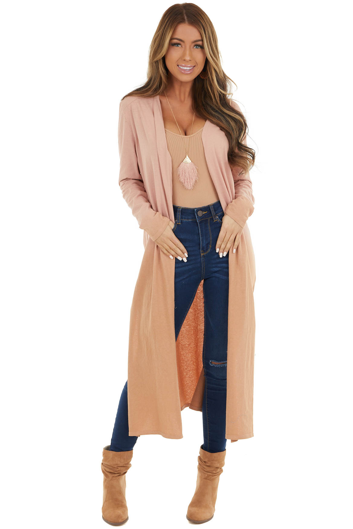 Dusty Blush and Salmon Ombre Long Sleeve Knit Cardigan