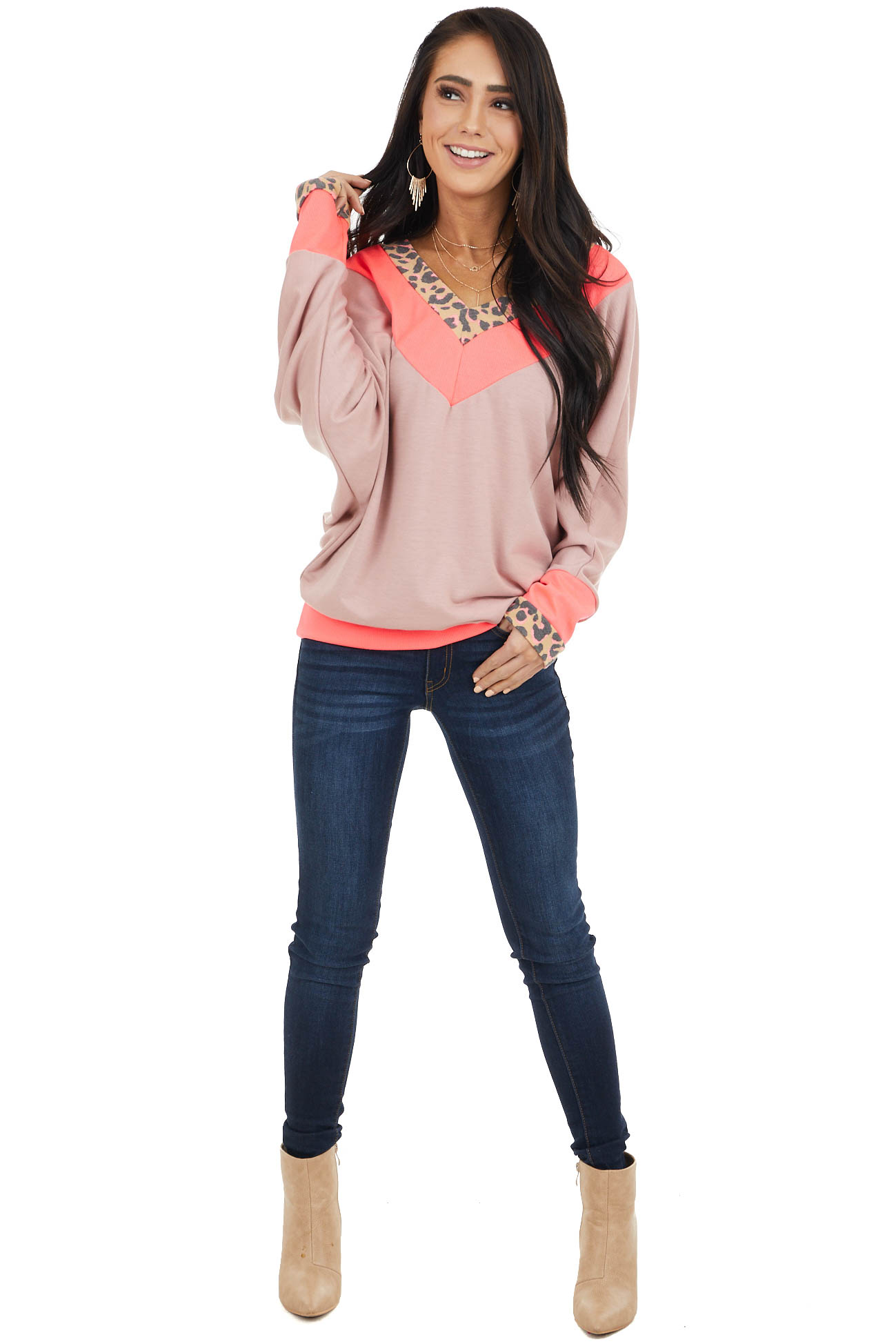 Neon Pink and Mauve Leopard Print Long Dolman Sleeve Top