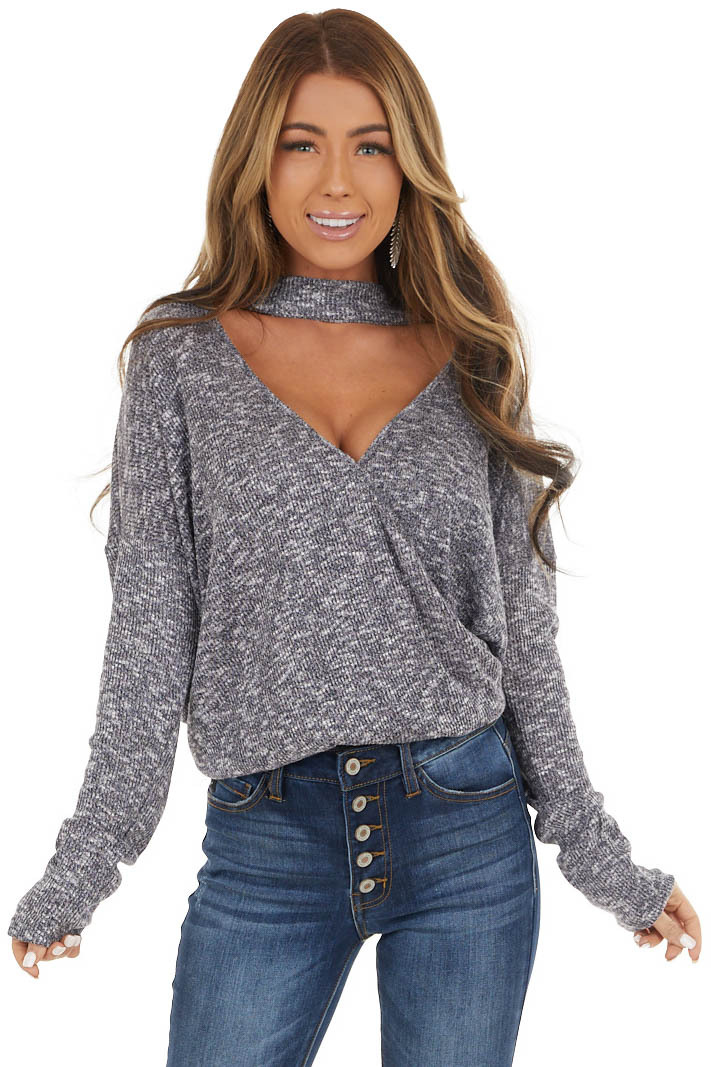 Charcoal and White Surplice Knit Top with Choker Neckline