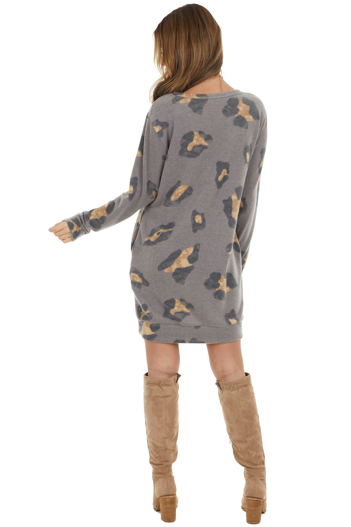 Stone Grey Long Sleeve Leopard Print Dress with Pockets