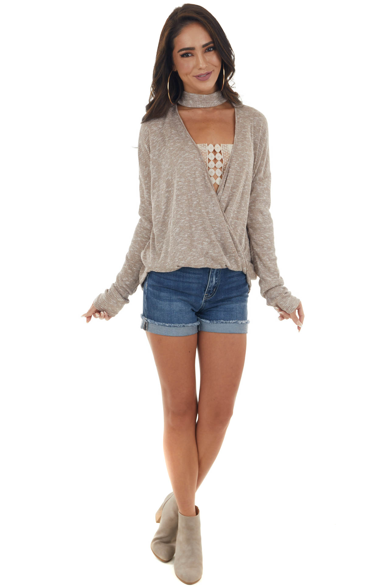 Latte and White Surplice Knit Top with Choker Neckline