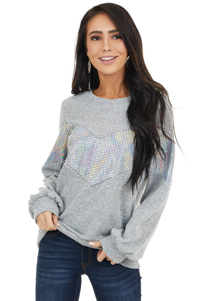 Dove Grey Two Tone Long Sleeve Top with Holographic Detail