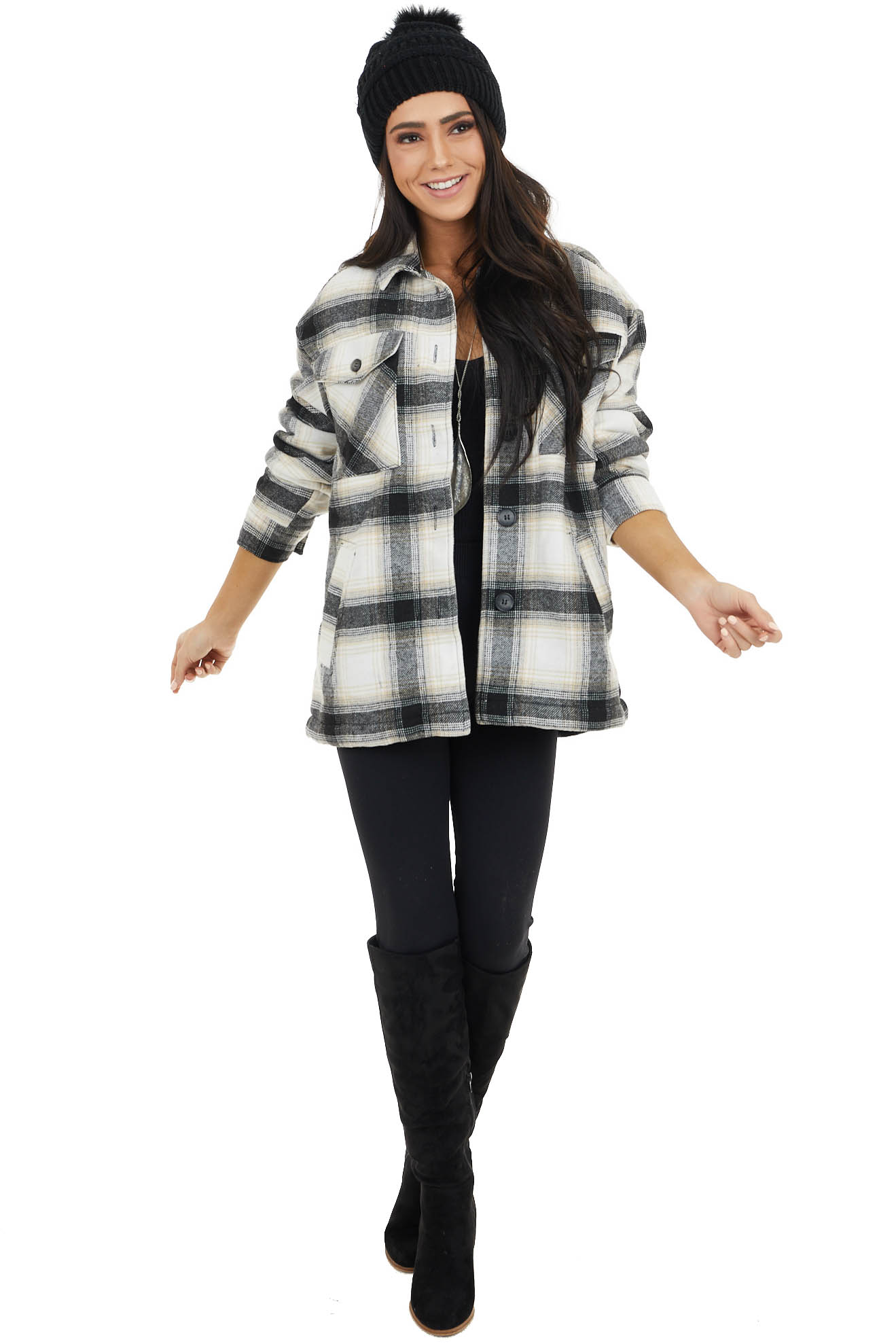Black and Taupe Plaid Sherpa Lined Jacket with Button Detail