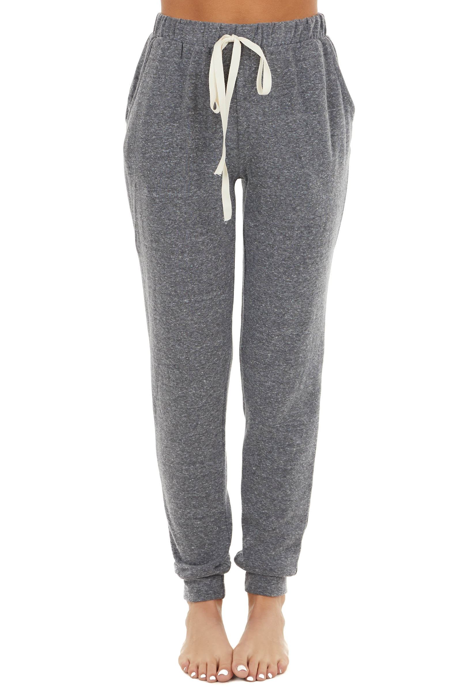 Heathered Stone Fleece Lined Drawstring Joggers with Pockets