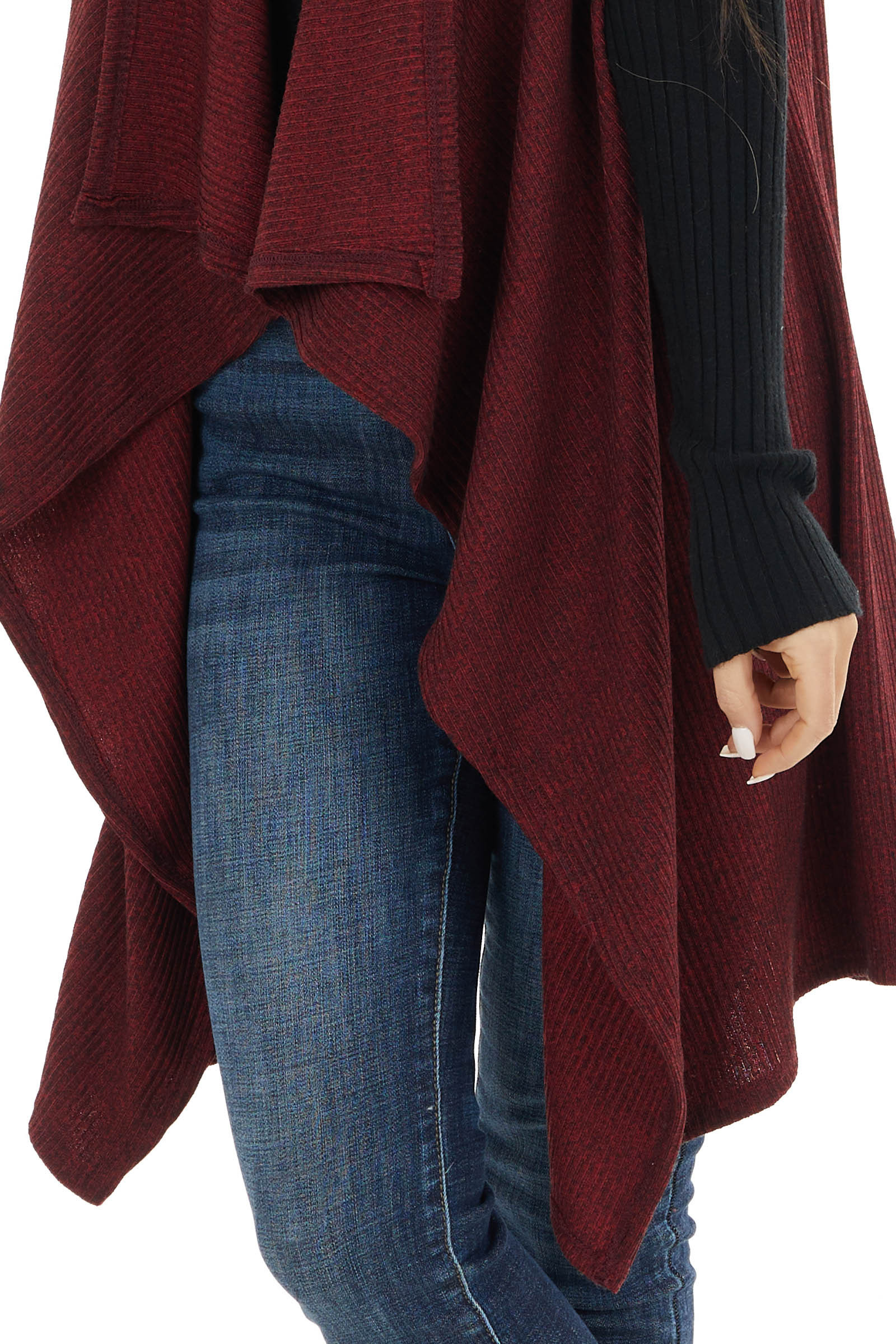 Burgundy Ribbed Knit Open Front Vest with Lapels