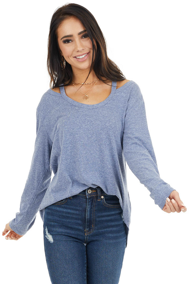 Dusty Blue Shoulder Cutout Long Sleeve Stretchy Knit Top
