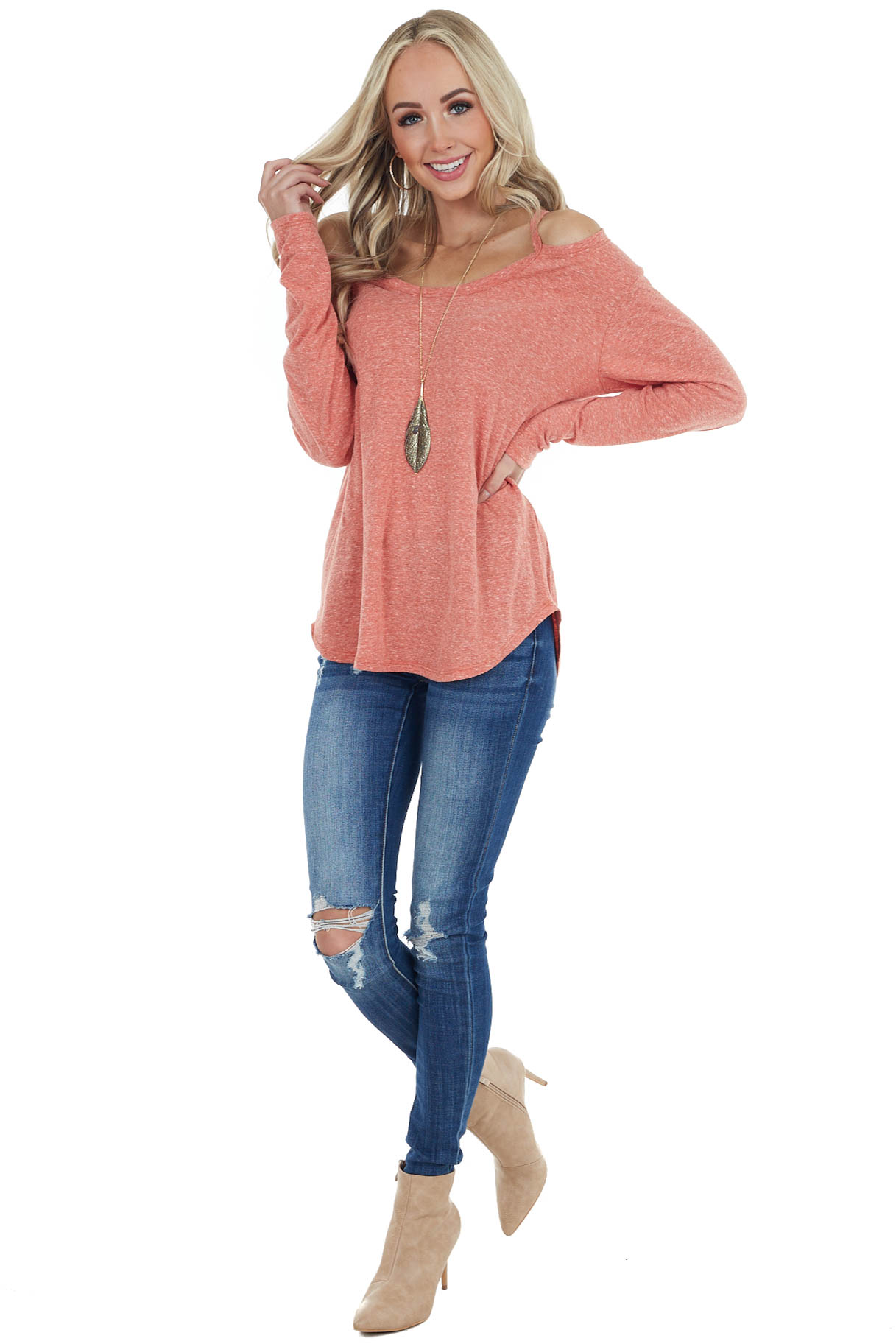 Heather Coral Shoulder Cutout Long Sleeve Stretchy Knit Top
