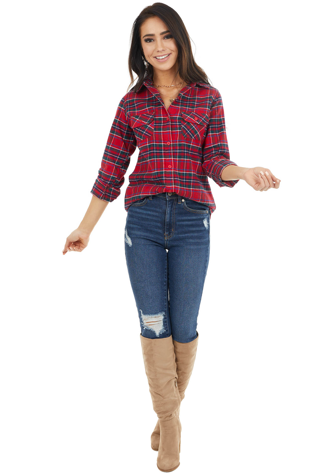 Crimson and Pine Plaid Button Up Top with Front Pockets