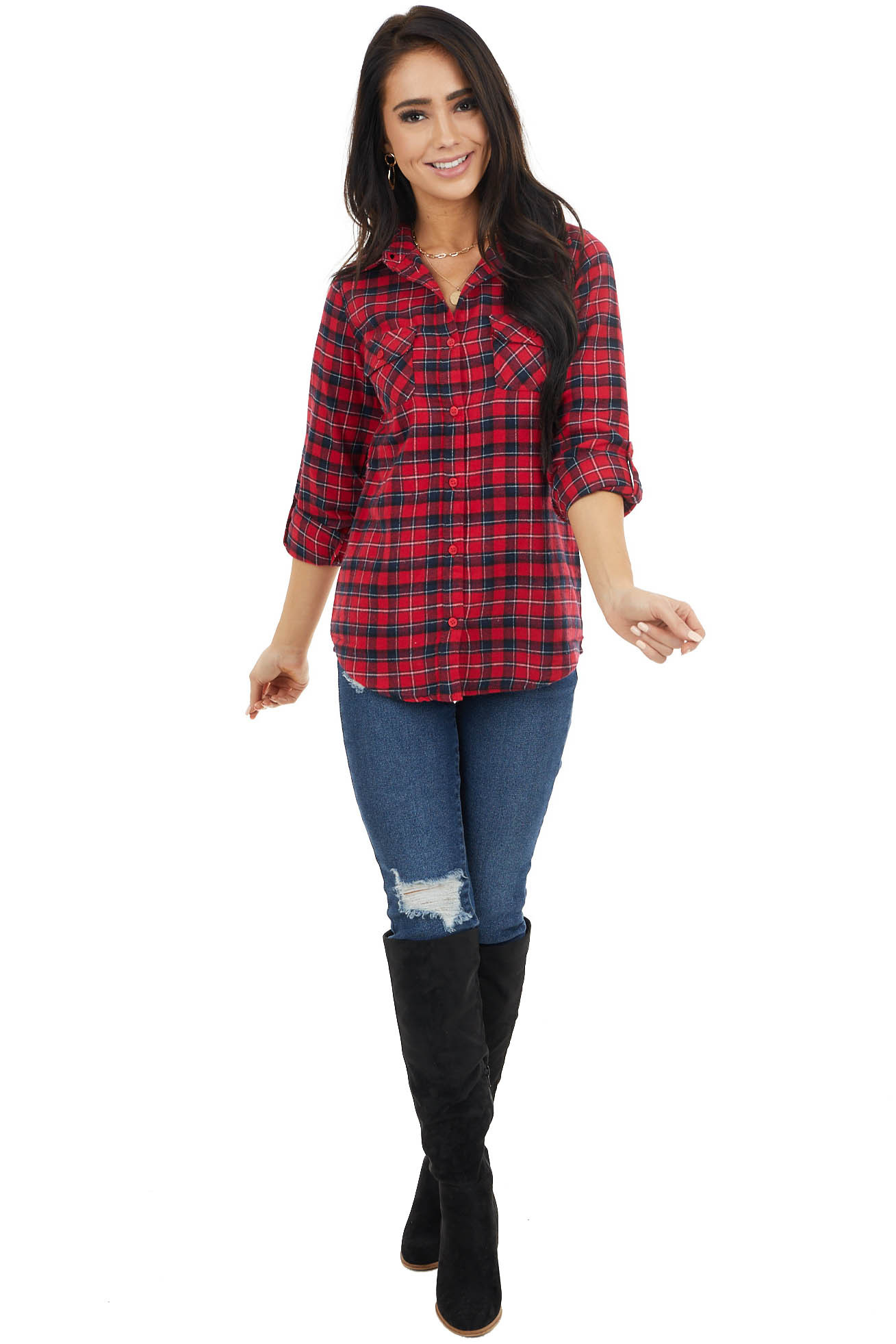Crimson and Black Plaid Button Up Top with Front Pockets