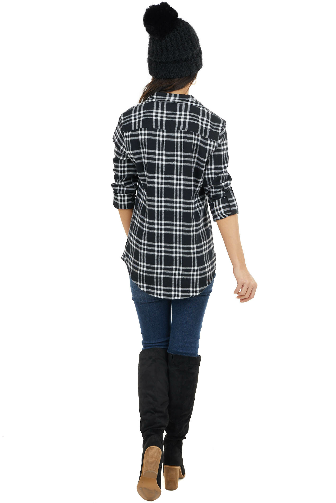 Black and White Plaid Button Up Top with Two Front Pockets