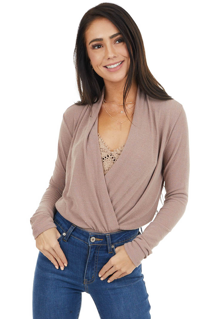 Dusty Rose Stretchy Knit Banded Surplice Long Sleeve Top