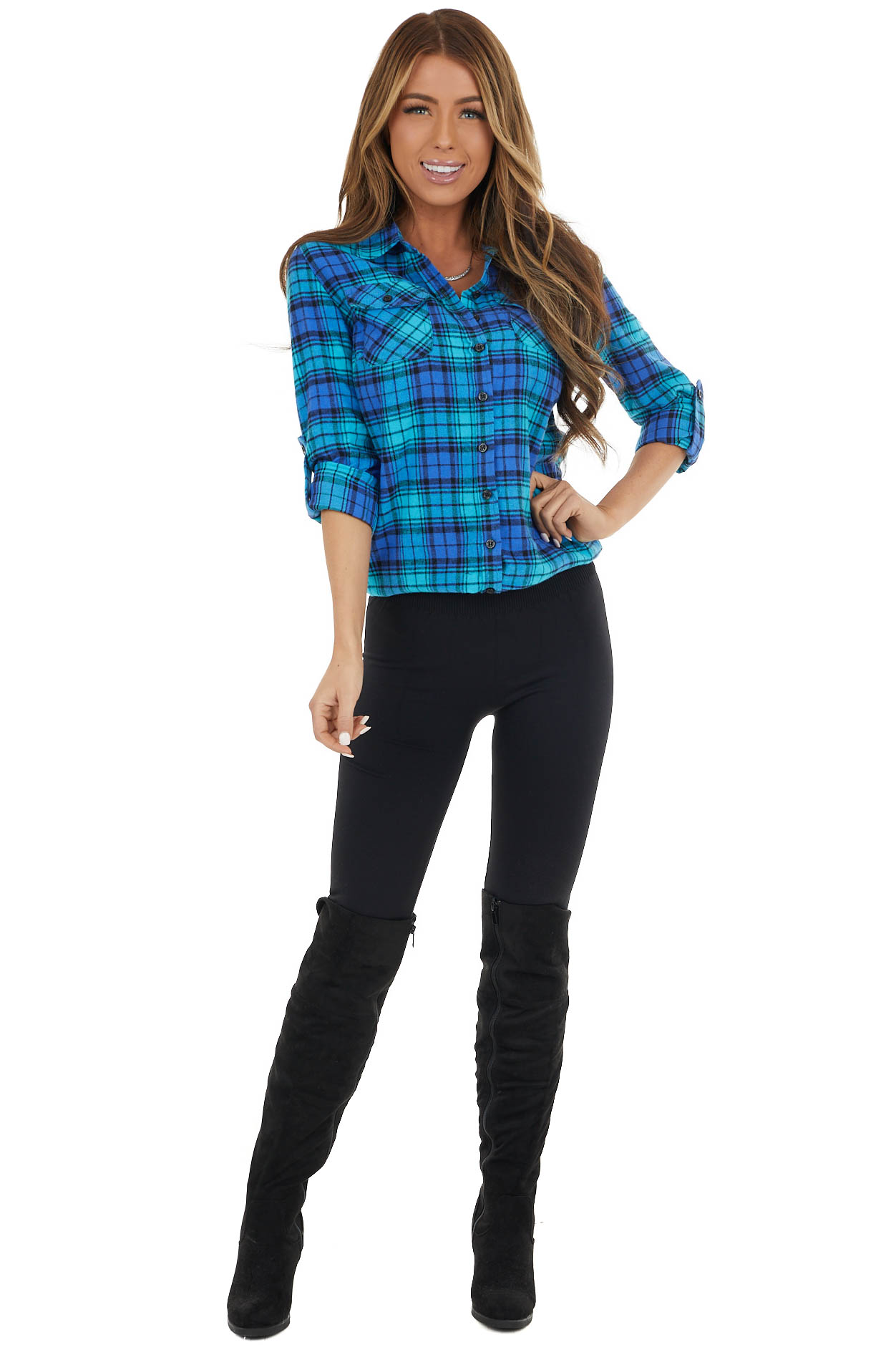 Cornflower and Aqua Plaid Button Up Top with Front Pockets