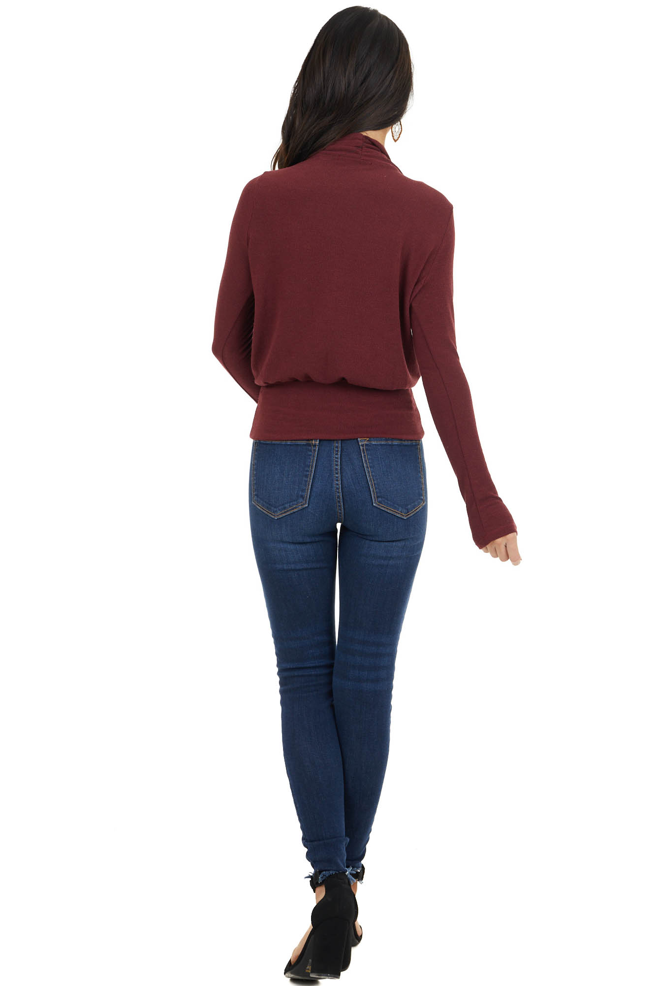 Wine Stretchy Knit Banded Surplice Long Sleeve Sweater