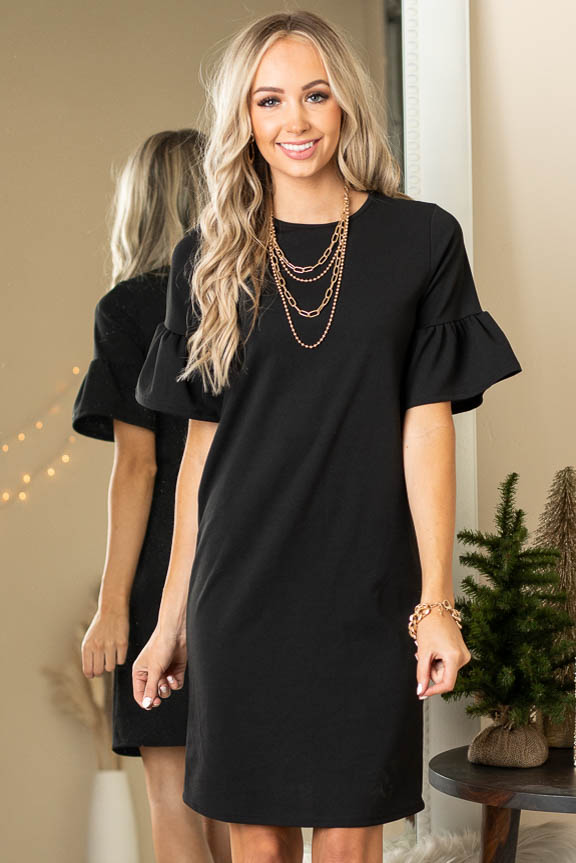 Black Sheath Dress with Short Ruffle Bell Sleeves