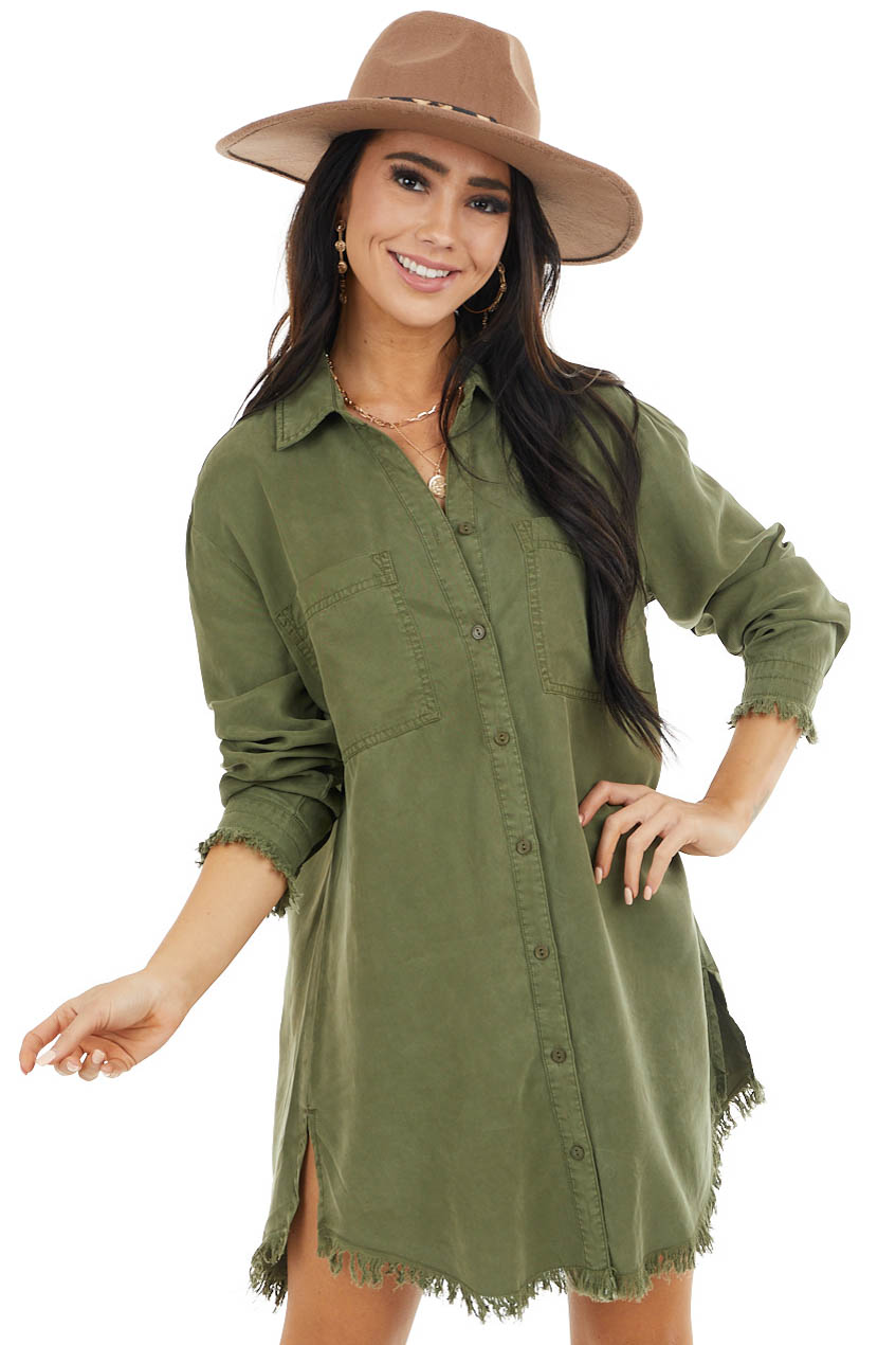Olive Green Button Down Denim Dress with Fray Details