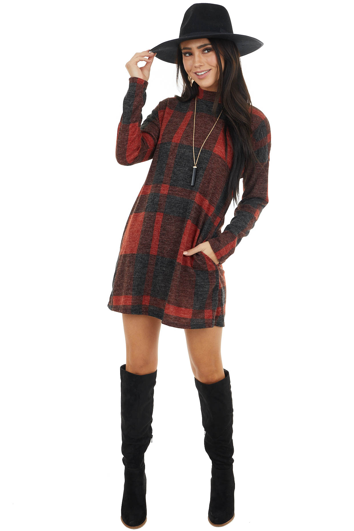 Black and Maroon Buffalo Plaid Mini Dress with High Neckline