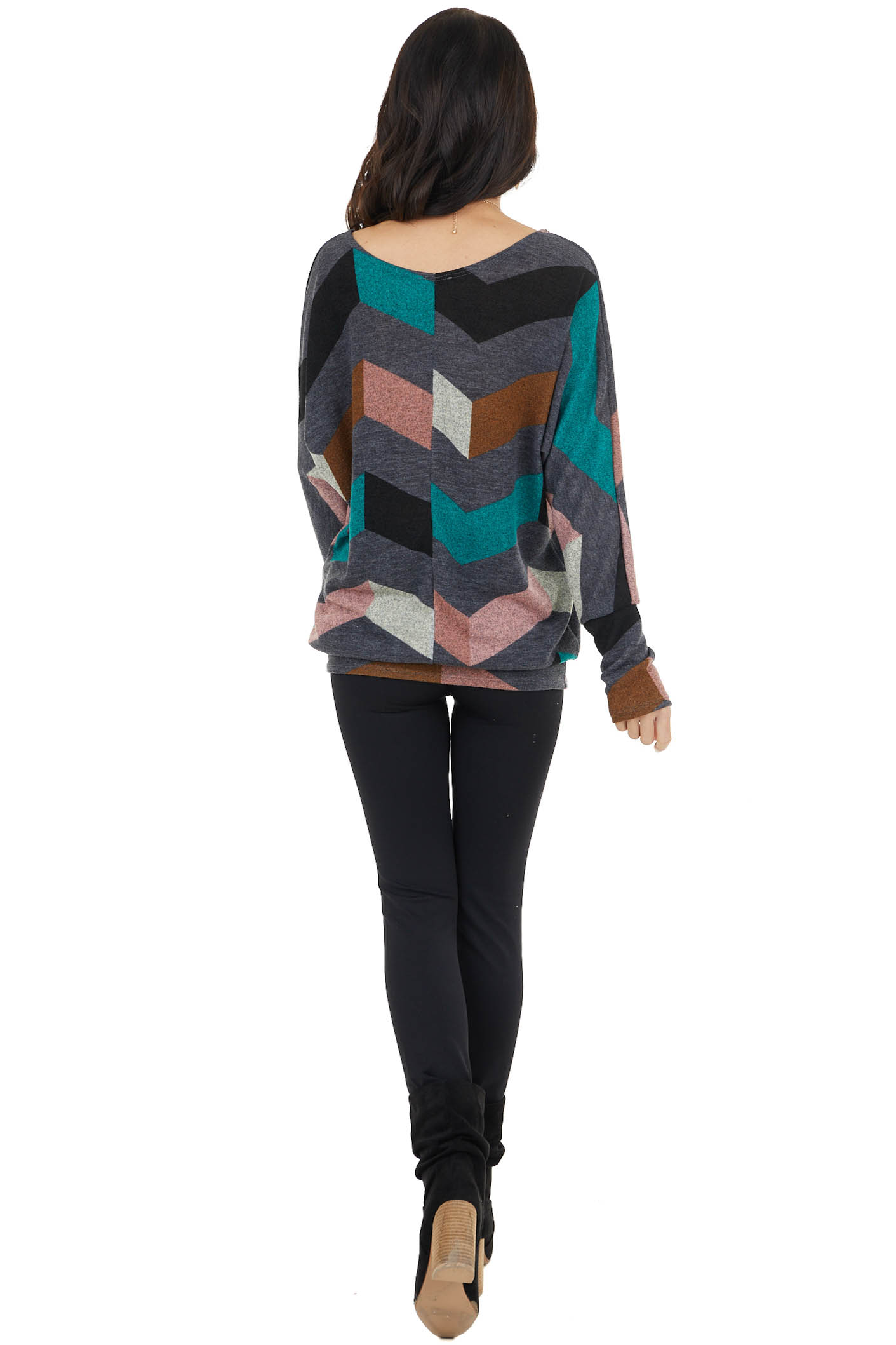 Charcoal Long Sleeve Tunic Top with Chevron Details