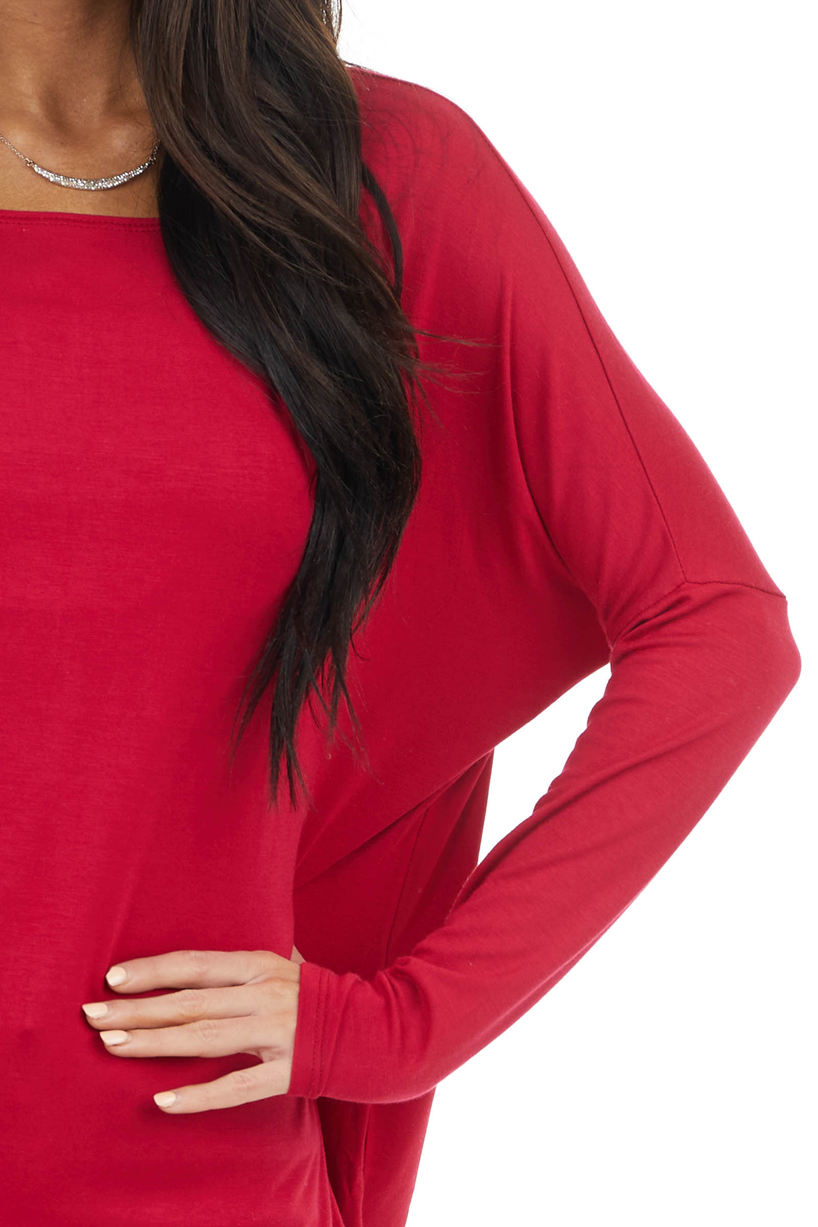 Ruby Long Sleeve Stretchy Knit Top with Boat Neckline