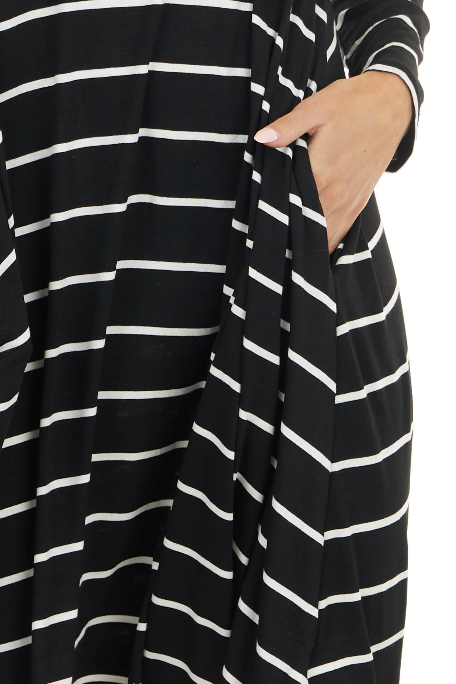 Black and White Striped Long Sleeve Dress with Pockets