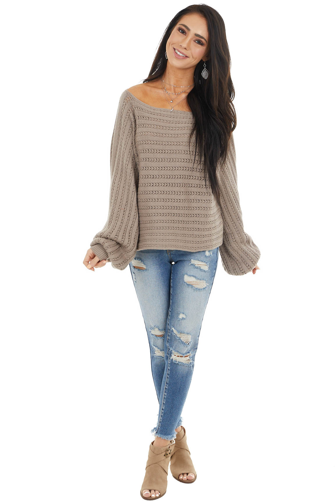 Latte Brown Long Sleeve Textured Sweater