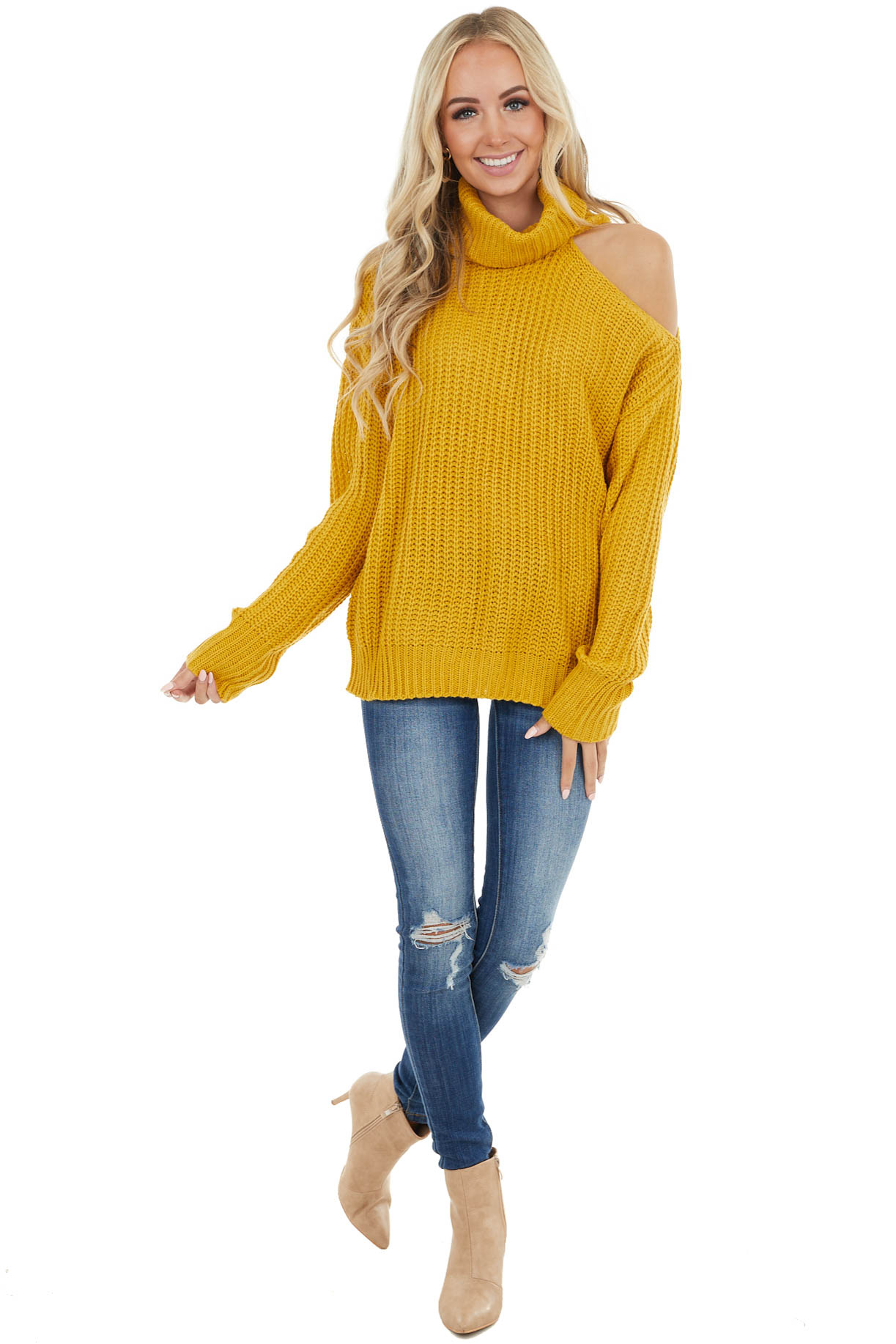 Mustard Long Sleeve Knit Sweater with Cold Shoulder