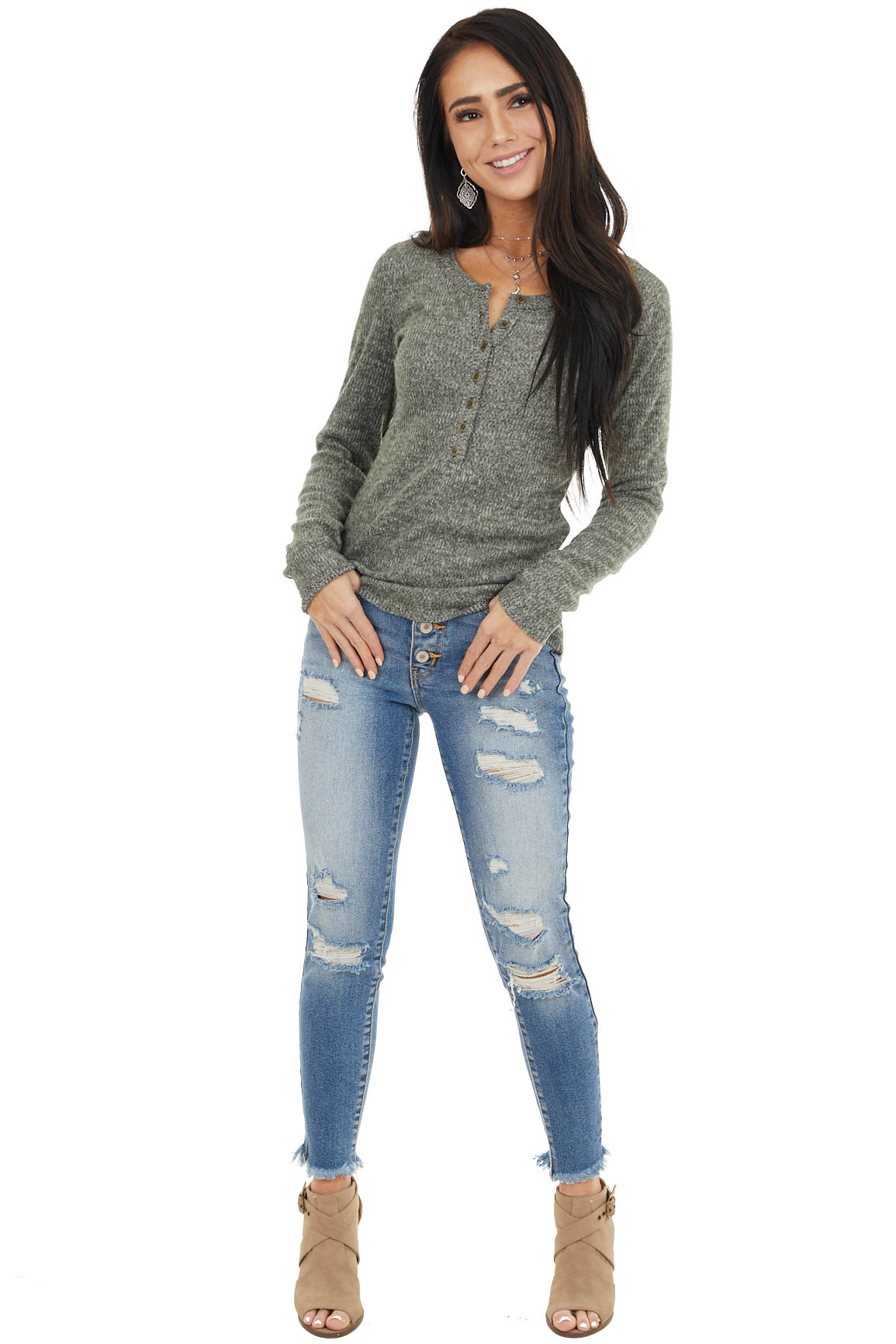 Faded Olive Long Sleeve Ribbed Knit Button Up Henley Top
