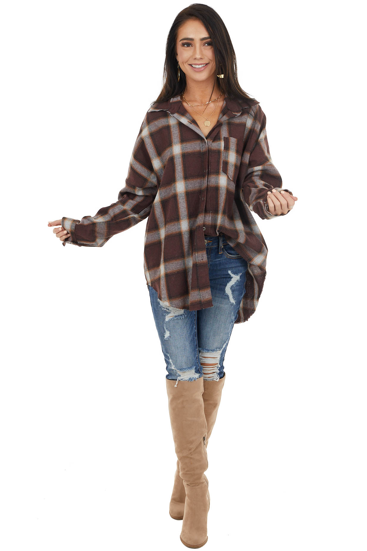 Chocolate Flannel Button Up Top with Split Seam Details