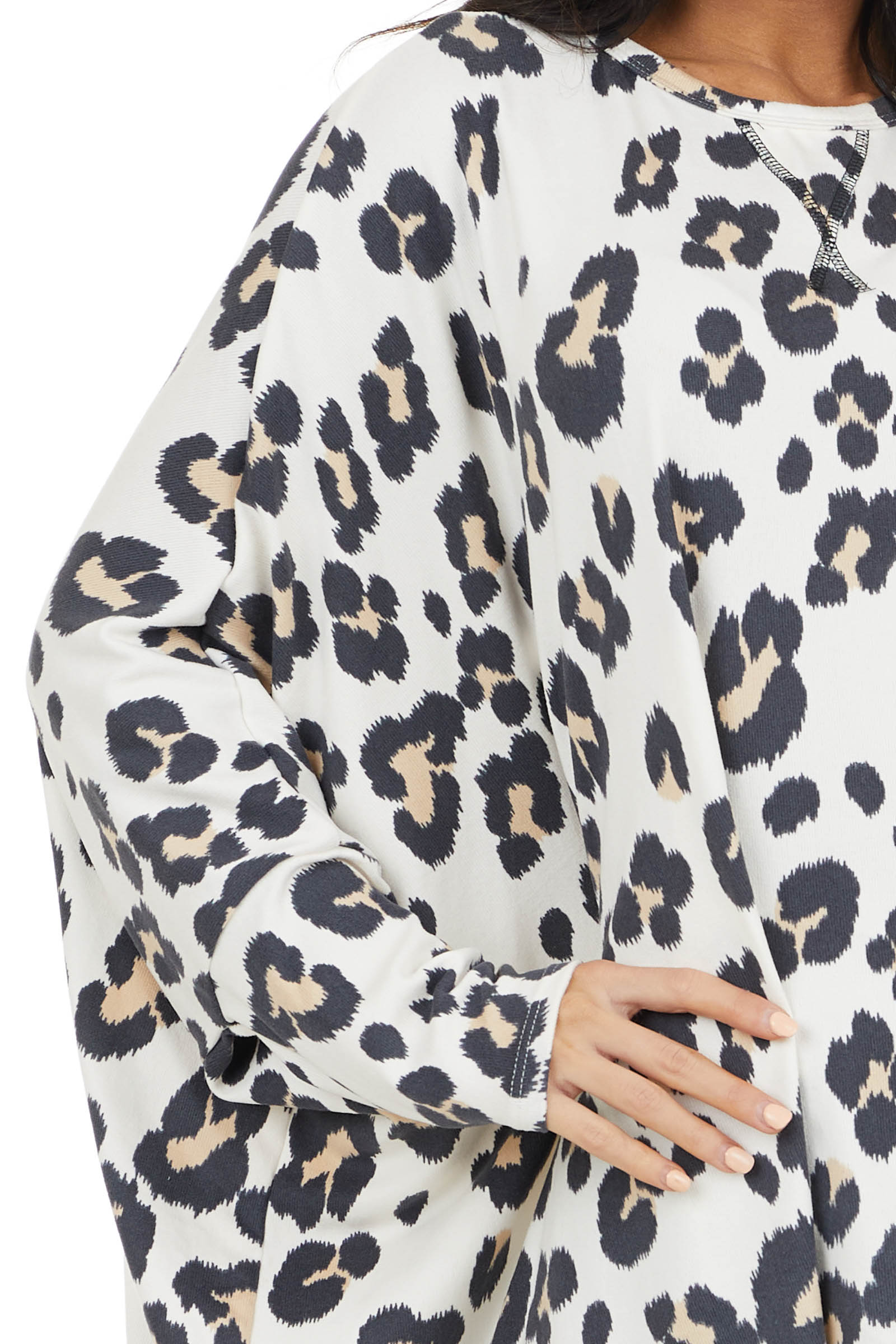Off White Leopard Print Oversized Top with Dolman Sleeves