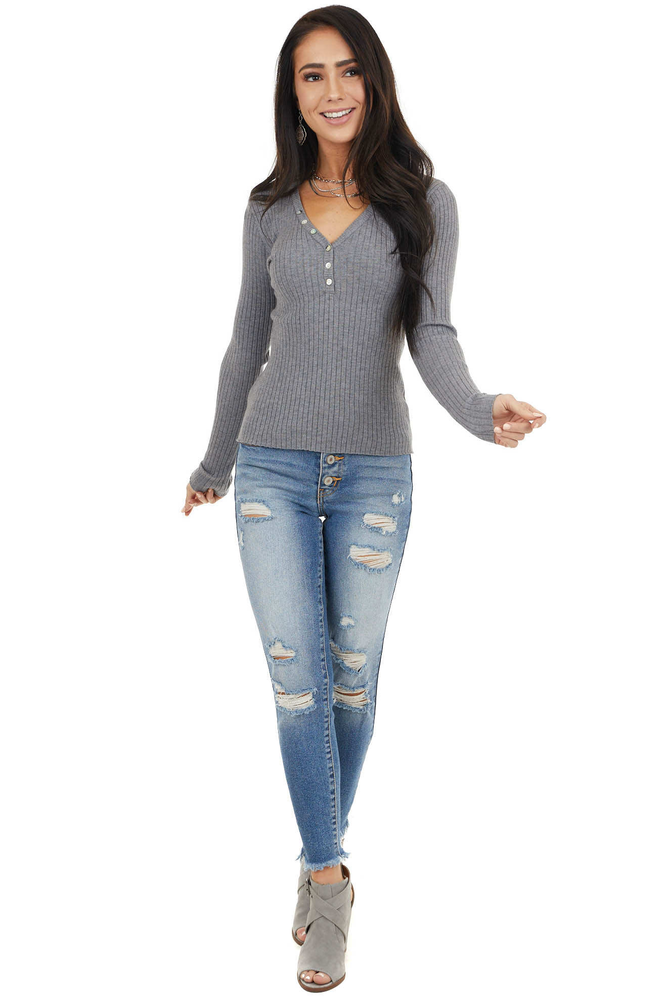 Charcoal Rib Knit Henley Long Sleeve V Neck Top