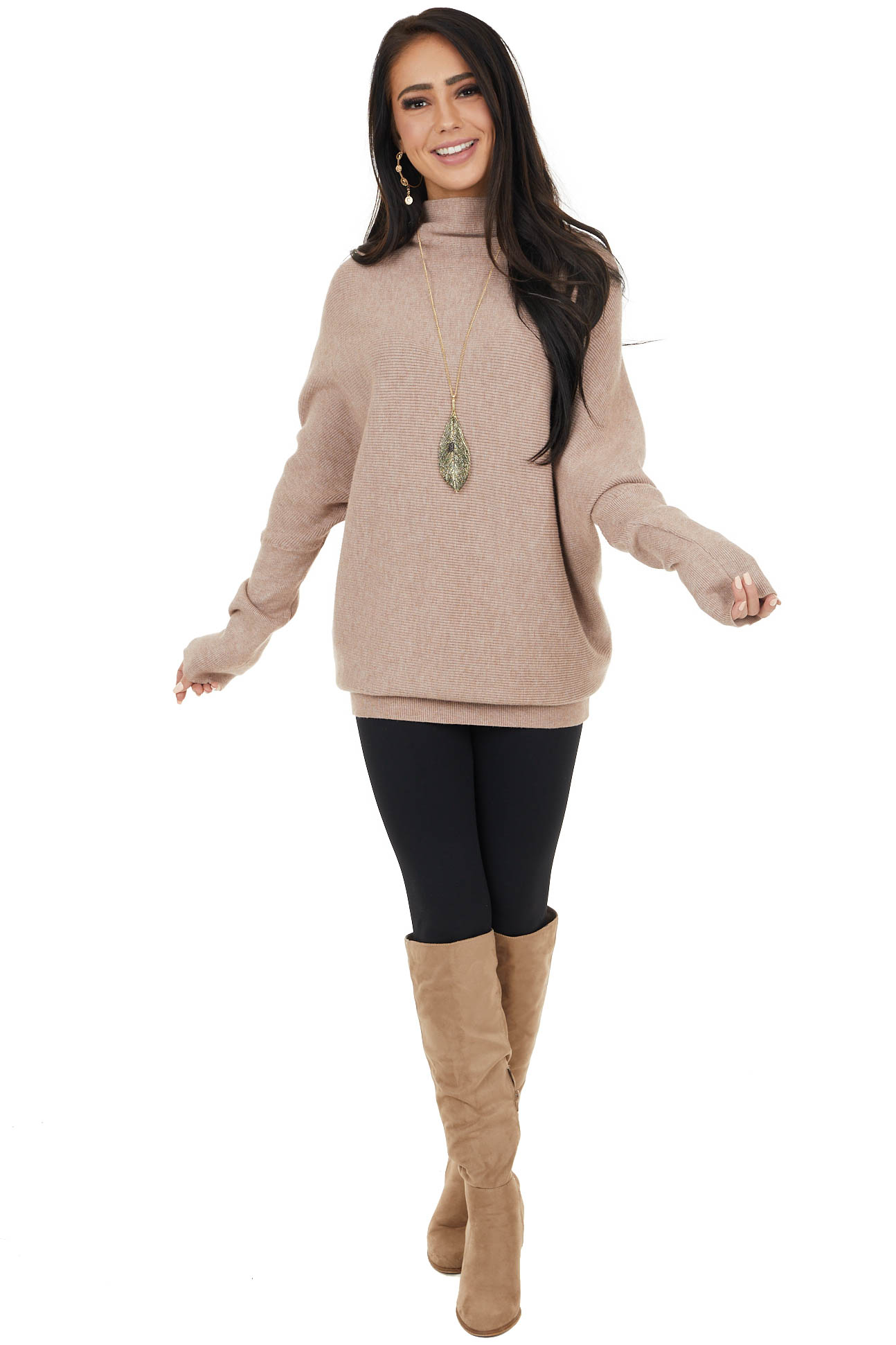 Latte High Neck Pullover Sweater with Long Dolman Sleeves