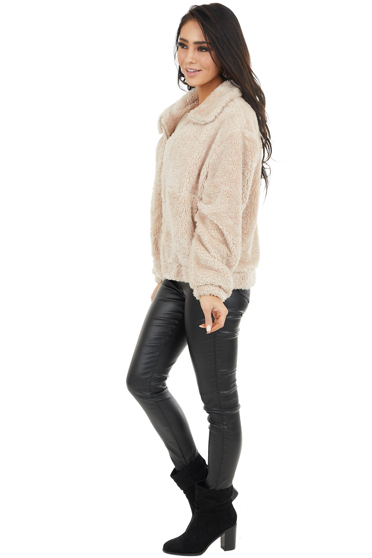 Cream Faux Fur Zip Up Collared Jacket with Pockets