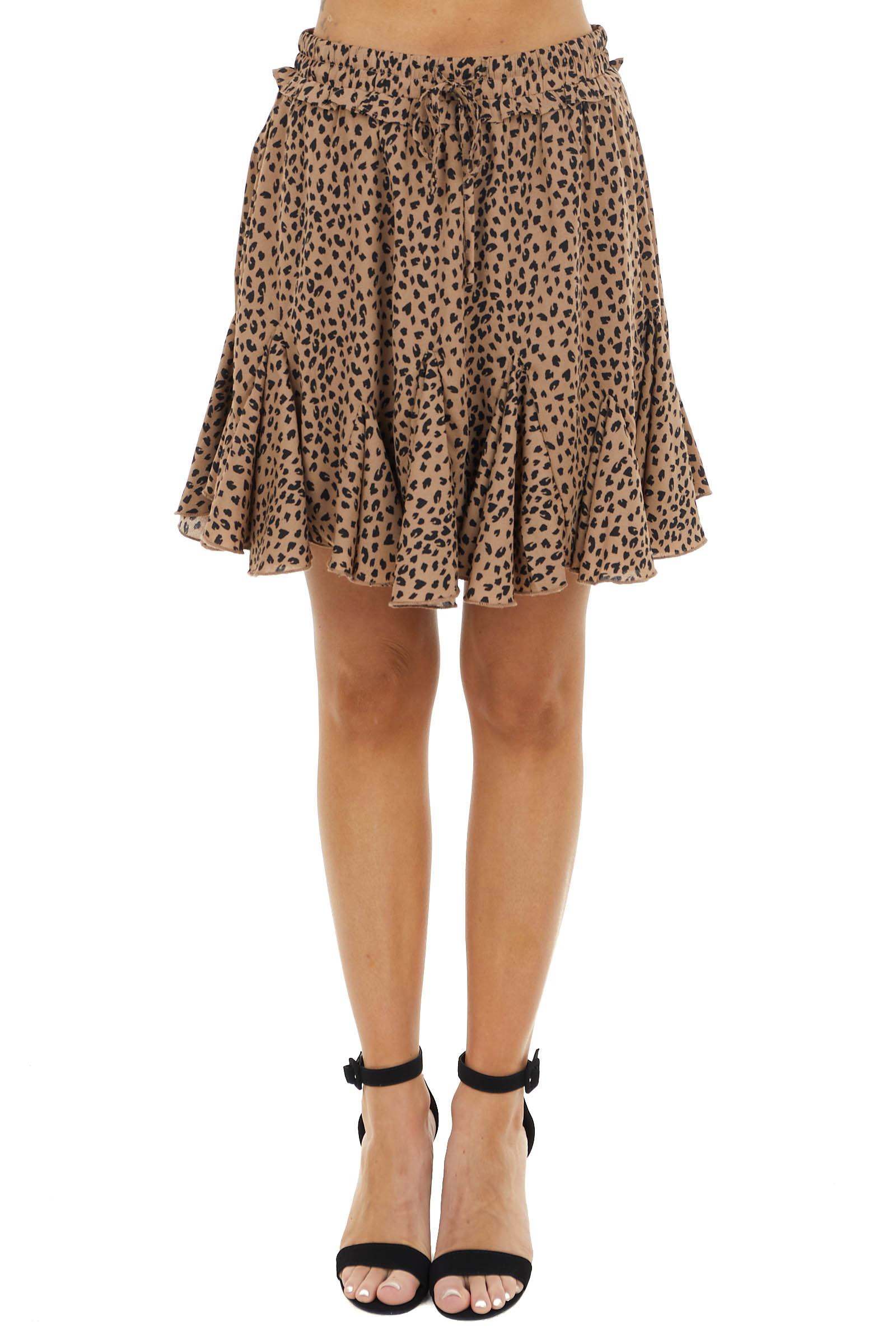 Camel and Black Leopard Print Mini Skirt with Flare Details