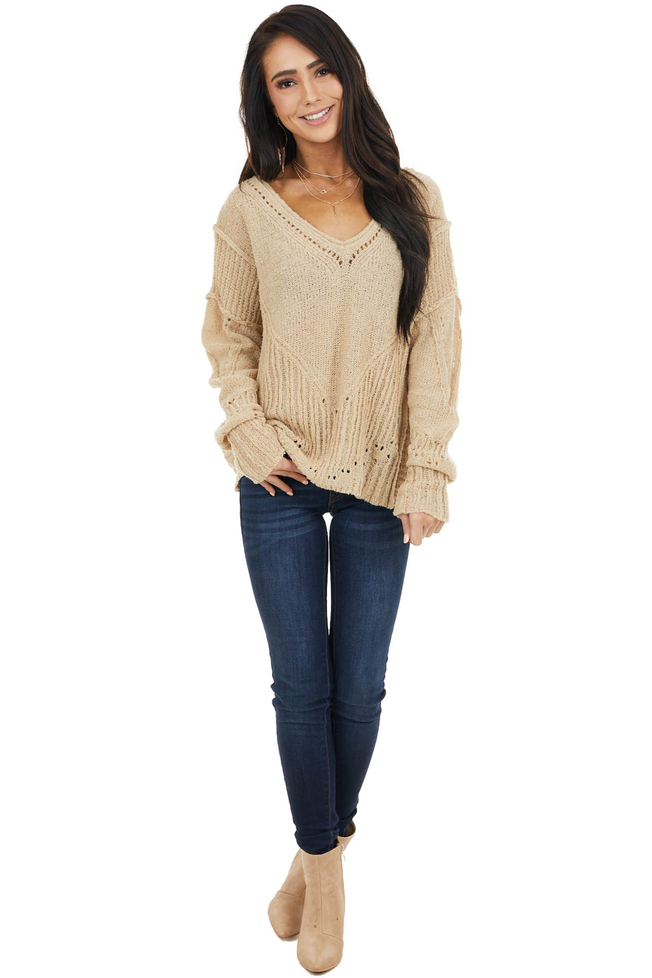 Beige Textured Knit Sweater with Cutout Details