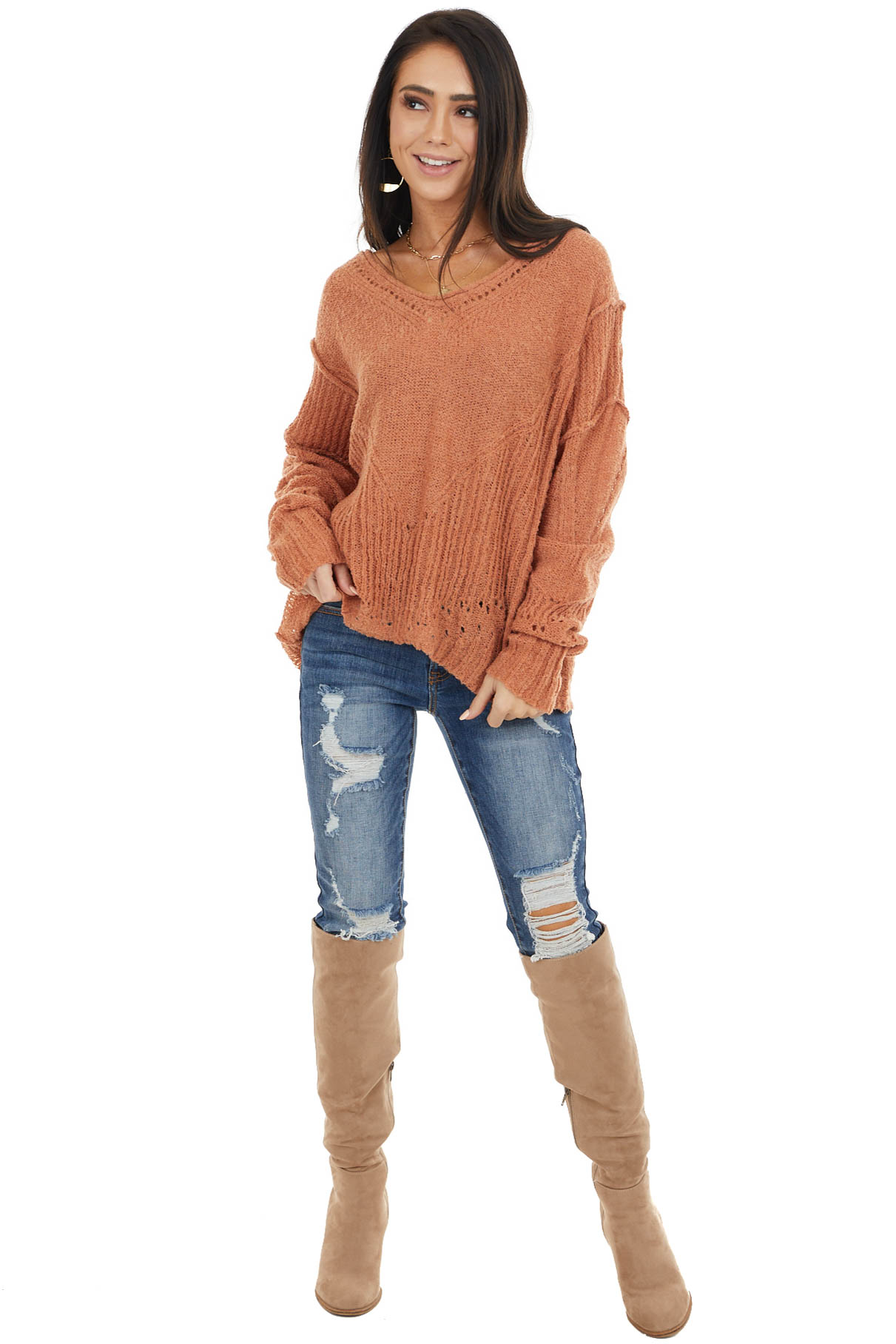 Tawny Textured Knit Sweater with Cutout Details