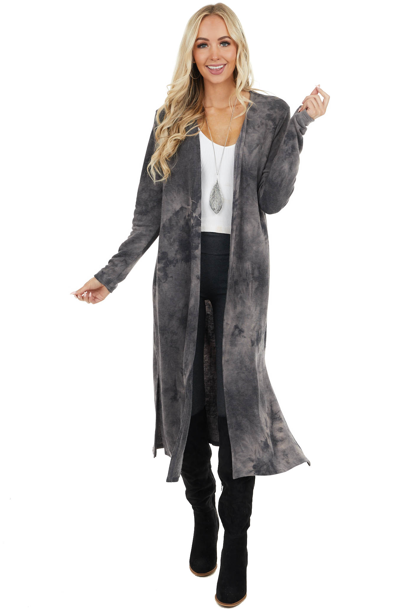 Charcoal Tie Dye Long Sleeve Duster Cardigan with Side Slits