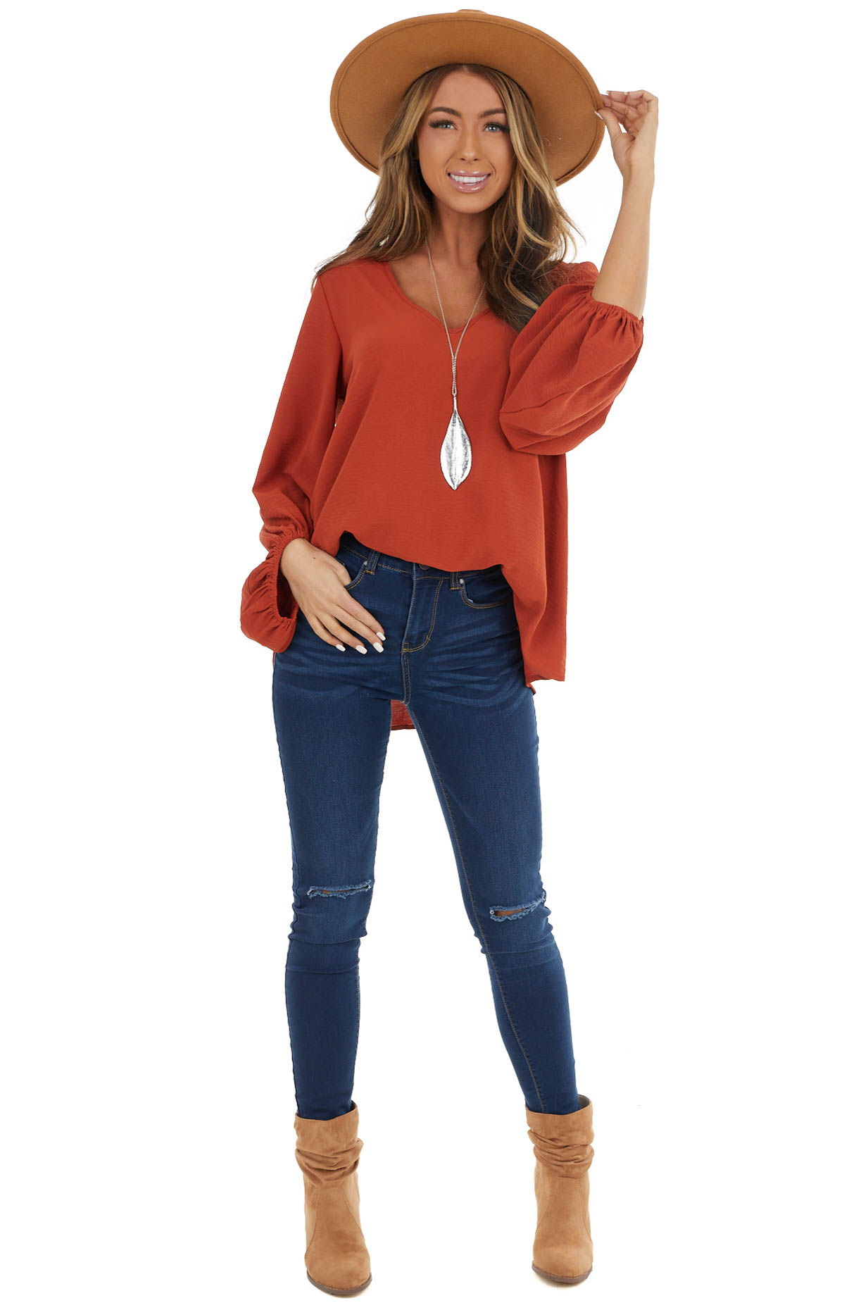 Rust Loose Fit V Neck Top with Draped Bubble Sleeves