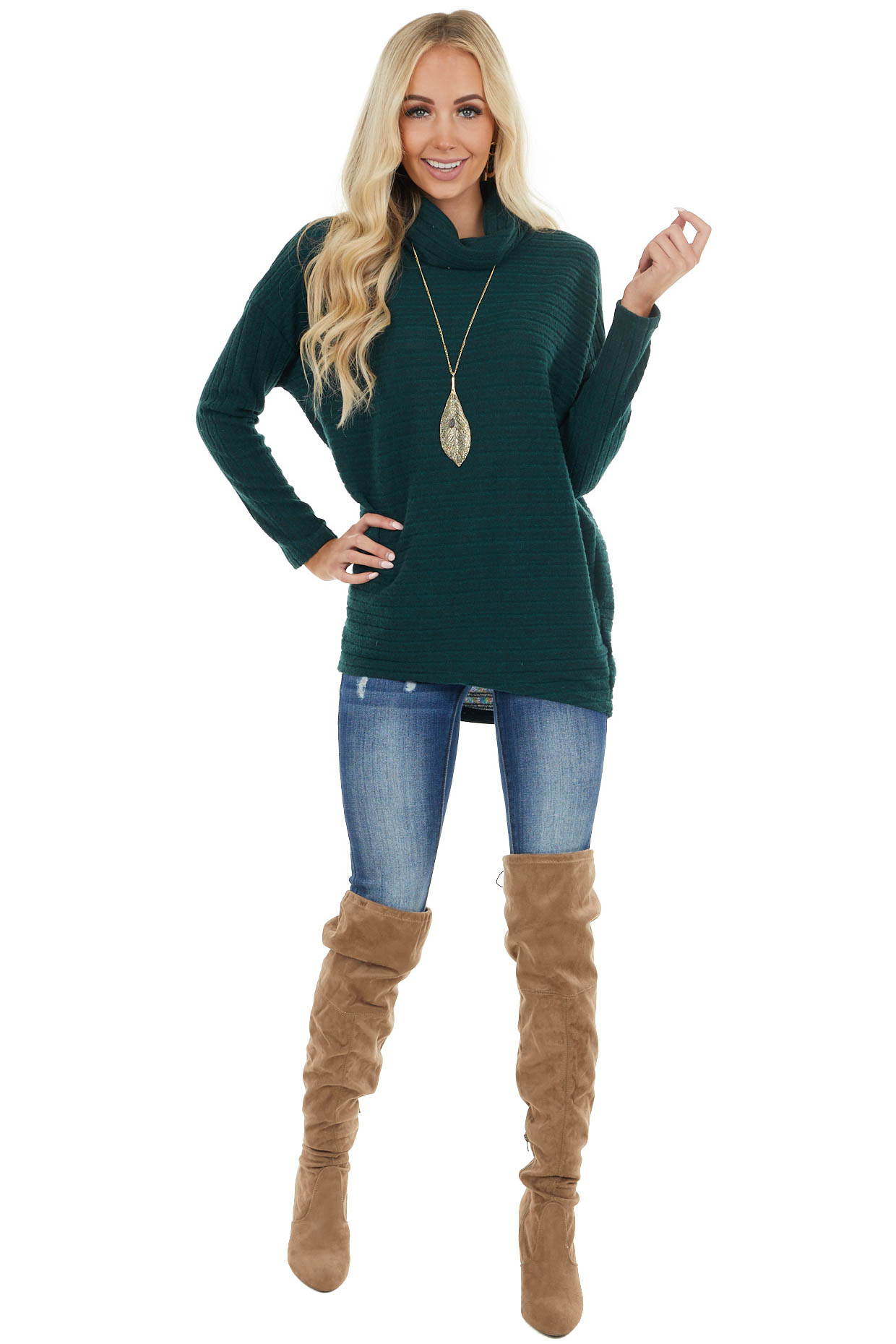 Pine Soft Ribbed Knit Long Sleeve Top with Cowl Neckline