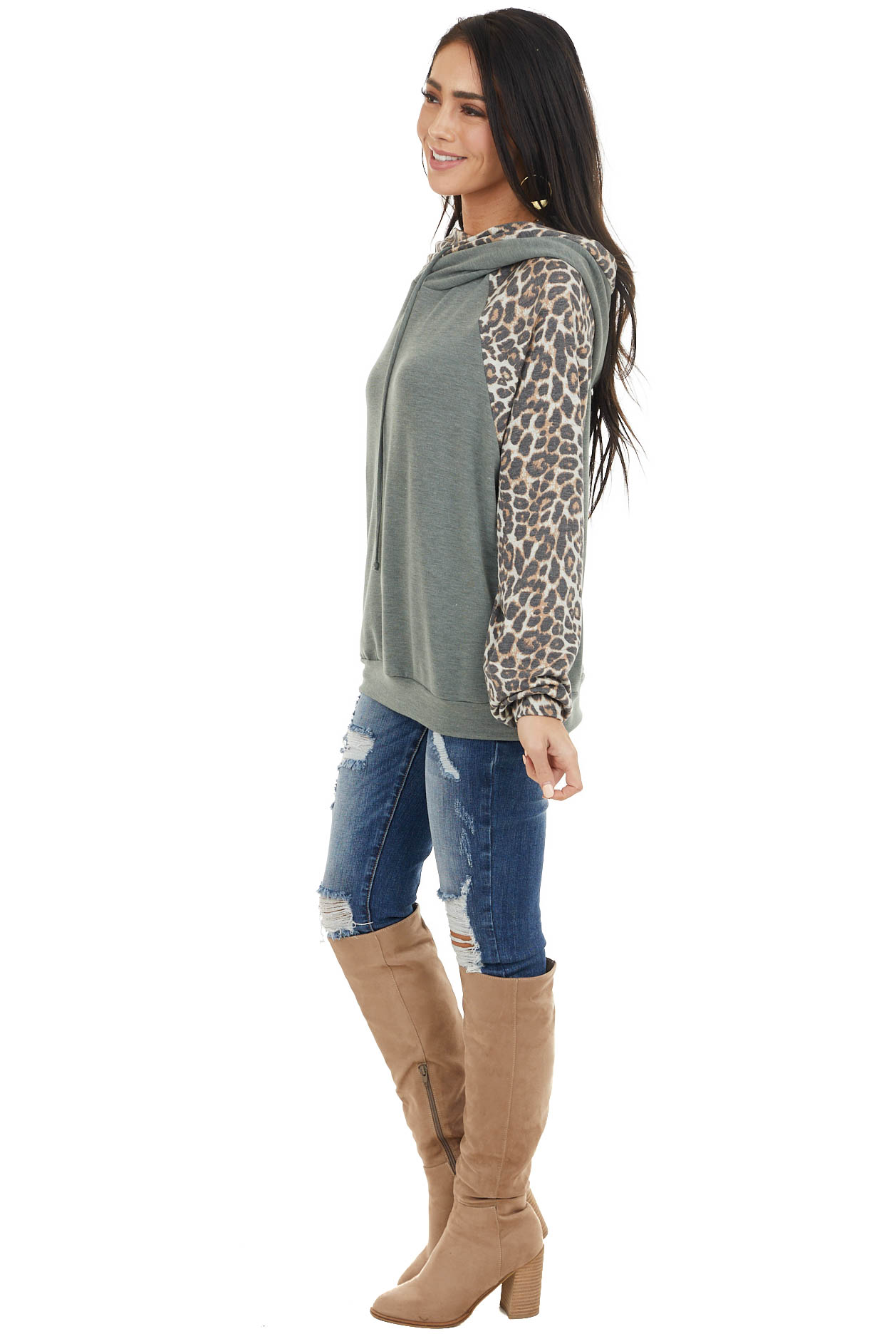 Dusty Sage Long Sleeve Hoodie with Leopard Print Contrasts