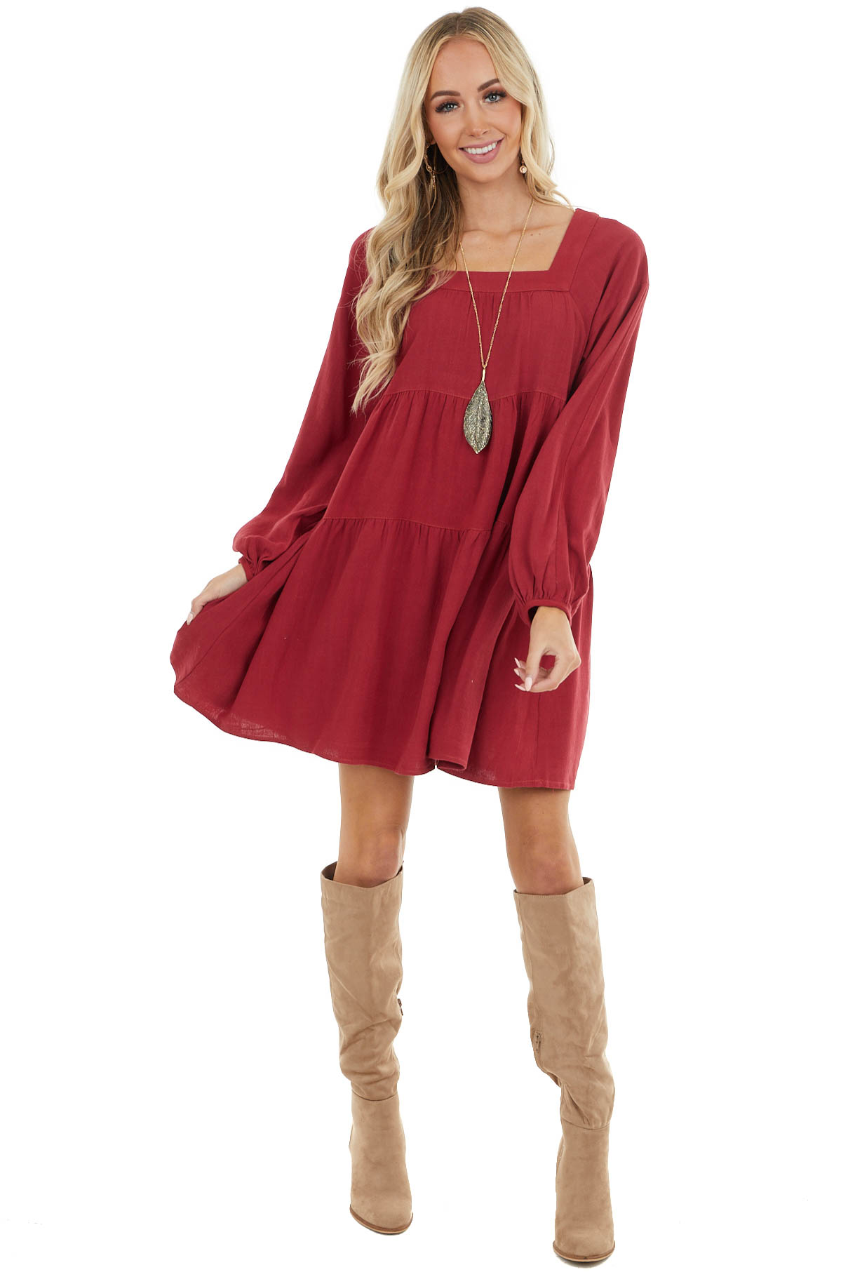 Burgundy Square Neck Babydoll Tiered Dress with Puff Sleeves